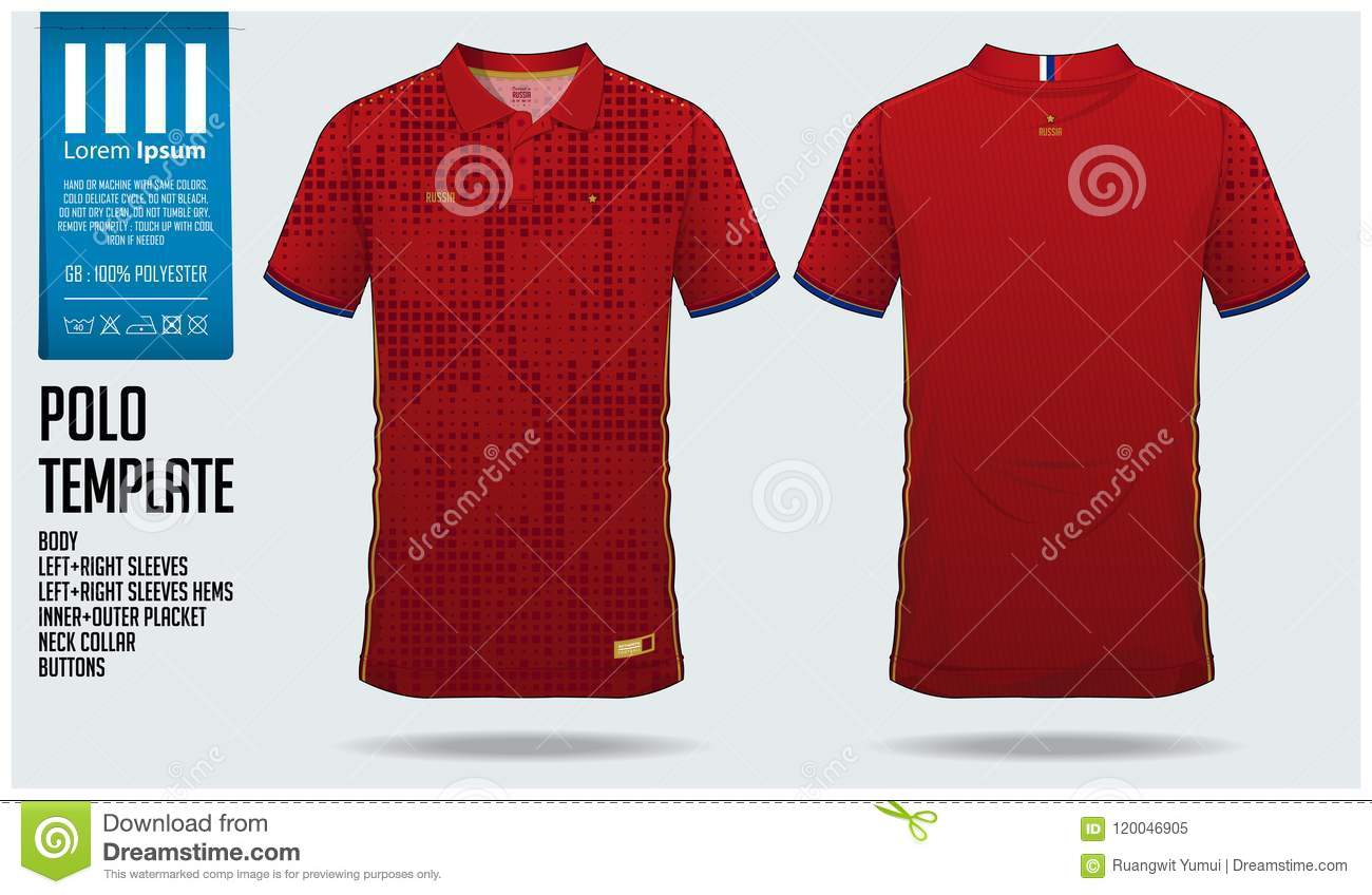 Russia Team Polo T Shirt Sport Template Design For Soccer Jersey