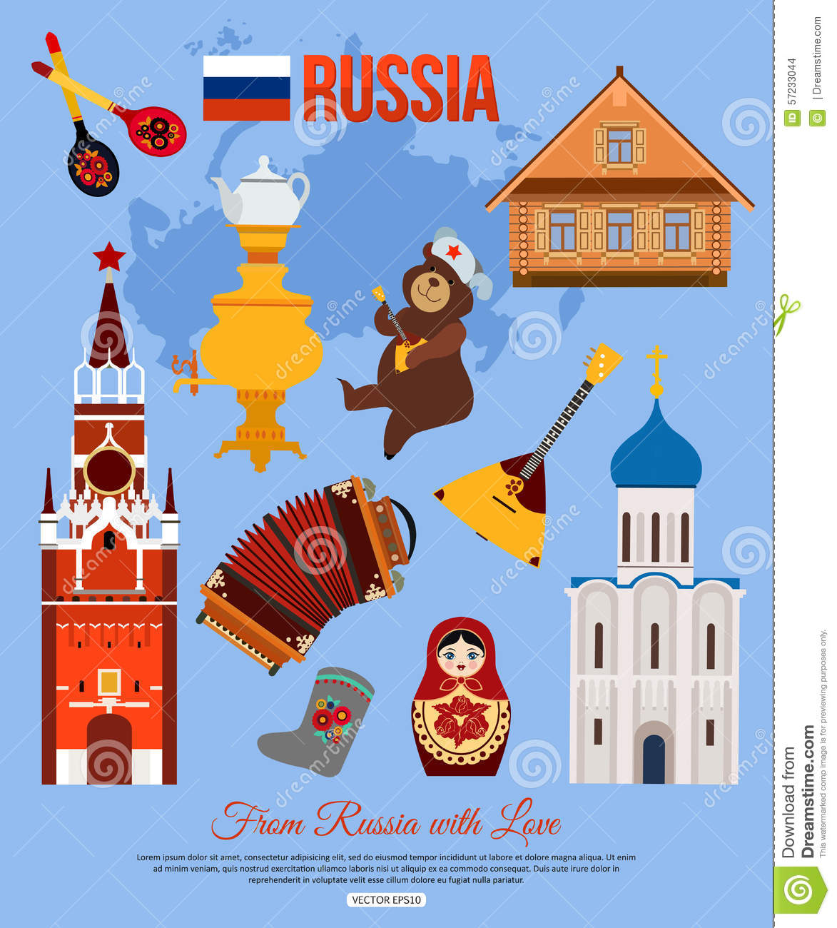 Russia Travel Background With Place For Text Set Stock Vector