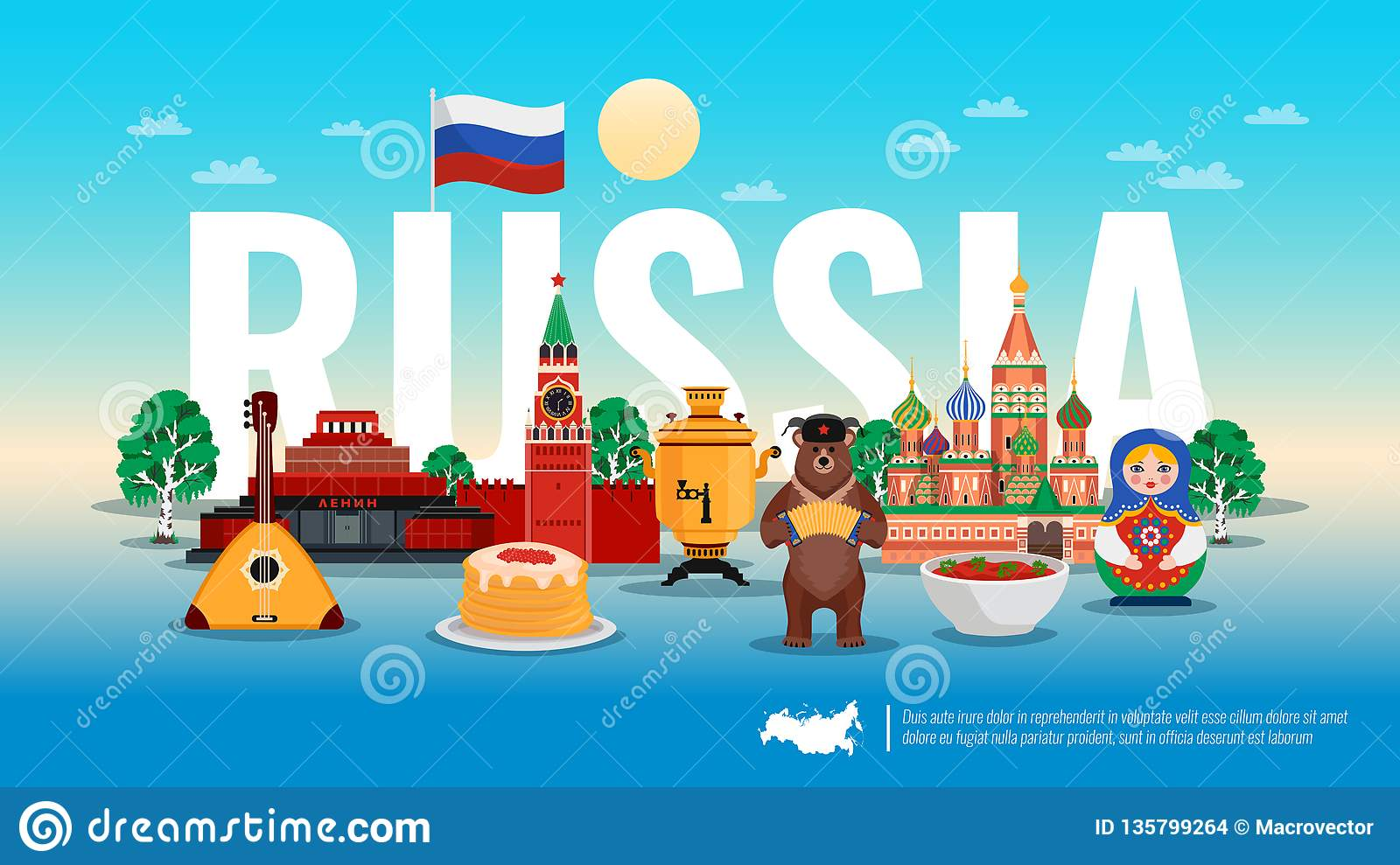 Russia Travel Flat Composition