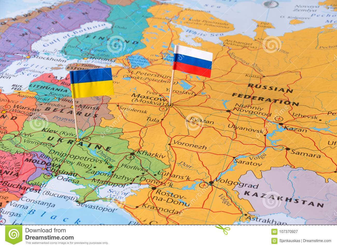 Russia And Ukraine Map Concept Image Hot Spot Defending Territory