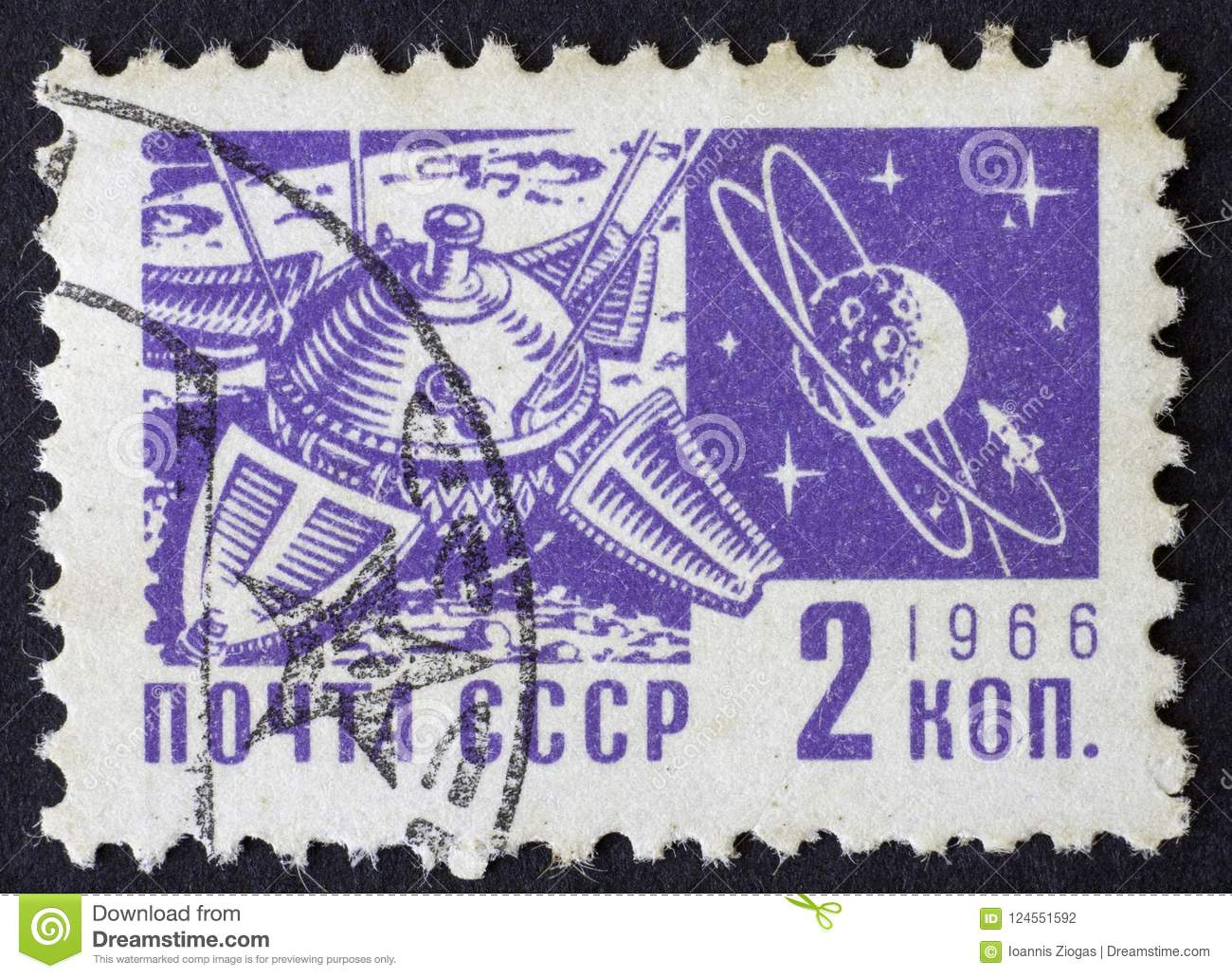 RUSSIA/USSR - CIRCA 1966: space themed post stamp of 2 kopek, Moscow 1966