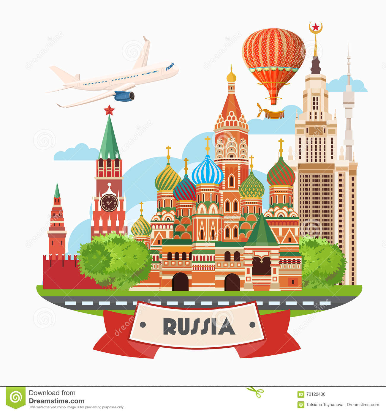 Russia Vector Banner. Russian Poster With Airplane. Travel