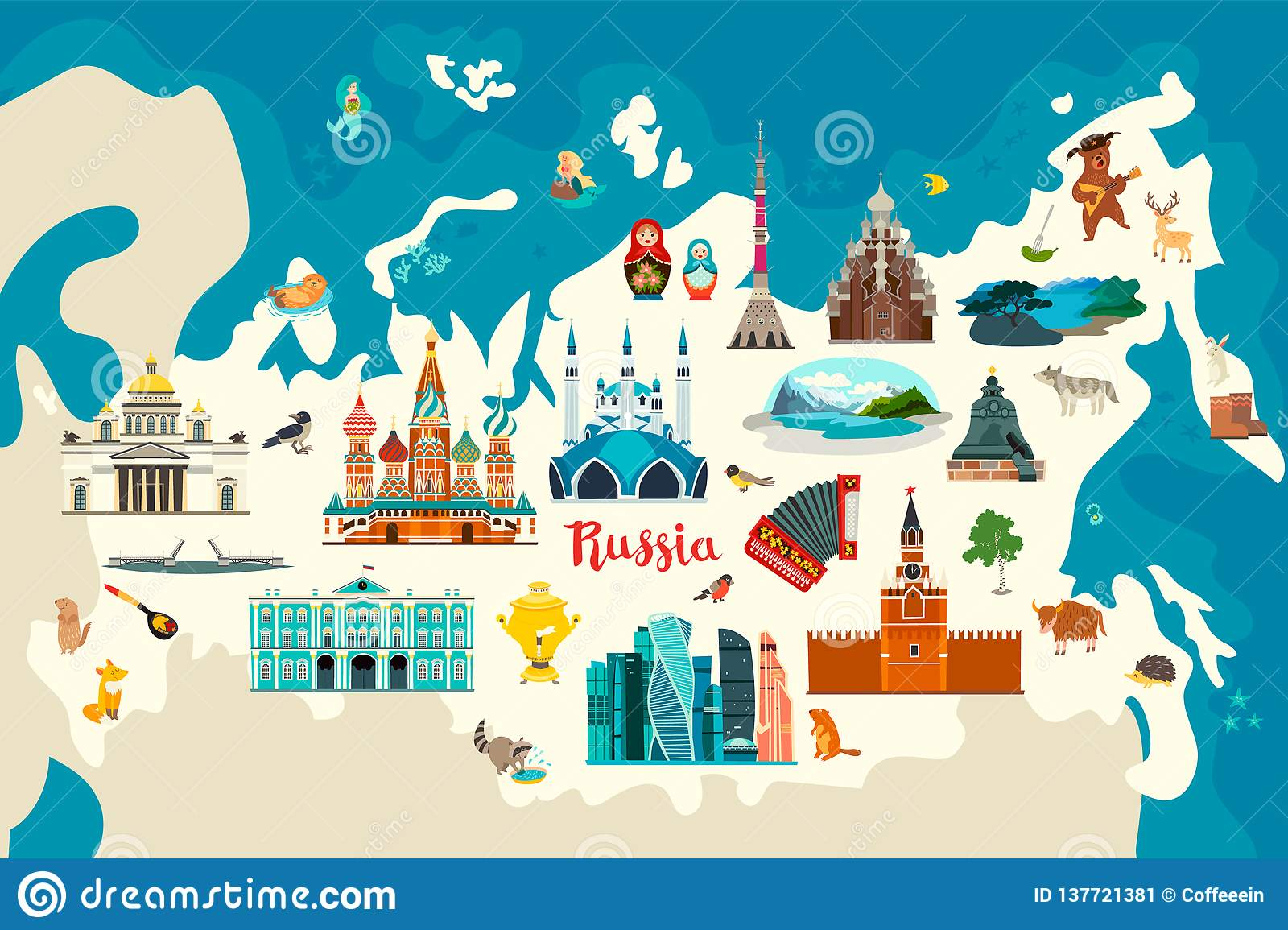 Russia vector map. Children colorful poster