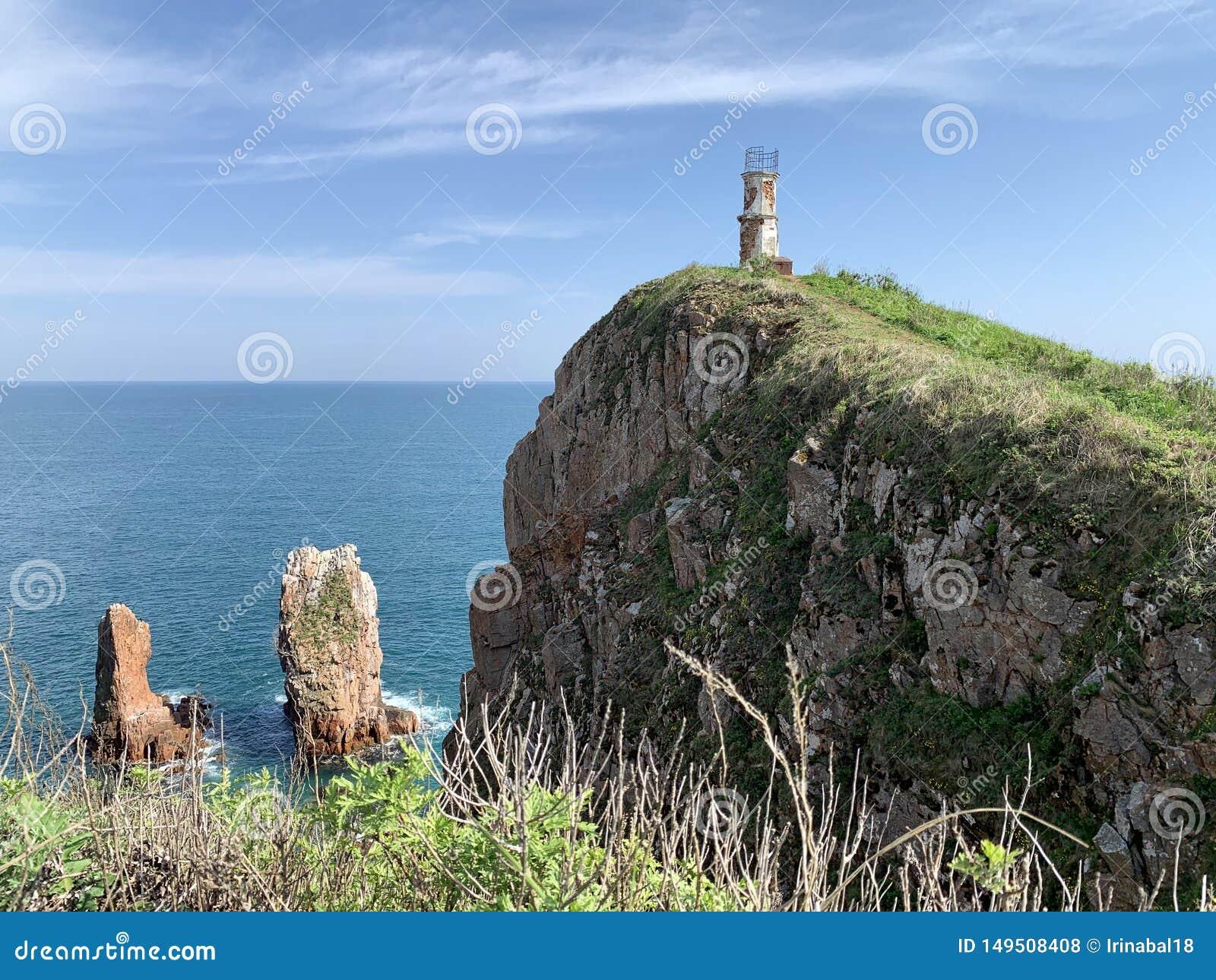 Russia, Vladivostok, Island of Shkot. Cape  of lighthouse