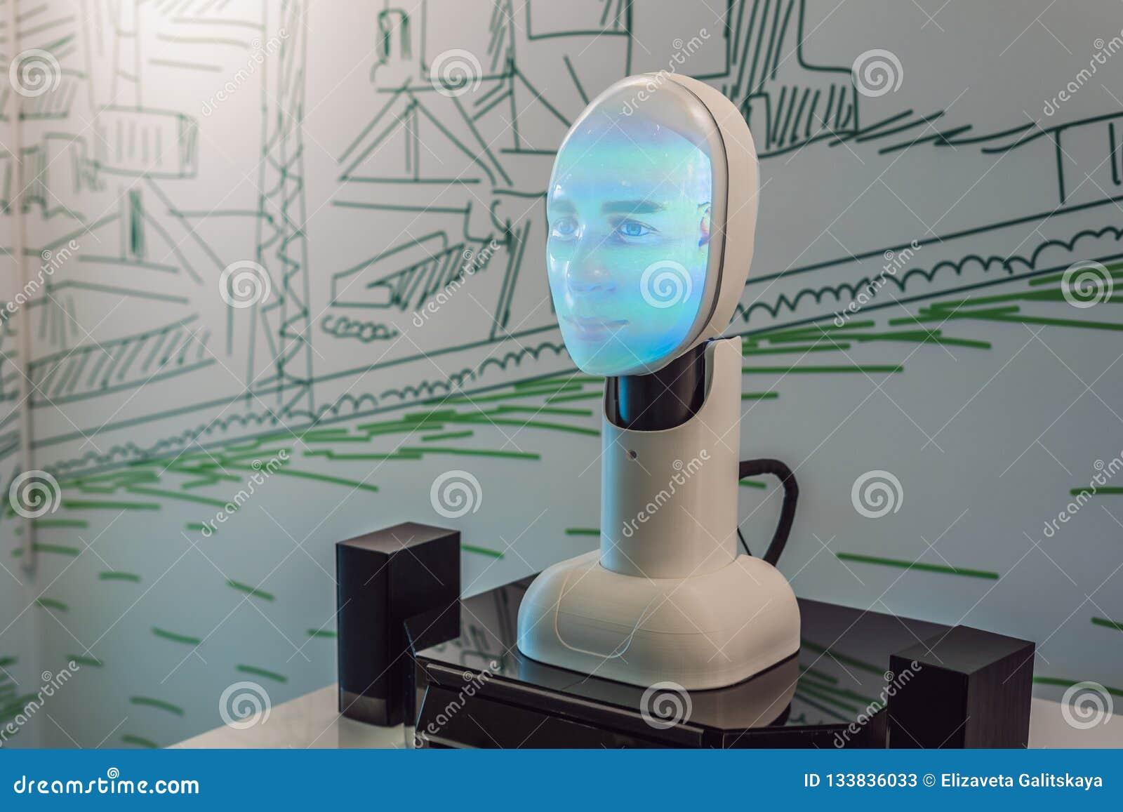 Russia, Vladivostok, September 12, 2018: Artificial intelligence, a robot that can talk