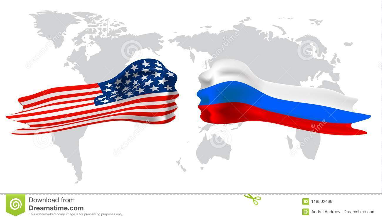 Russia Vs America, Fist Flag On World Map Background. Stock Vector ...