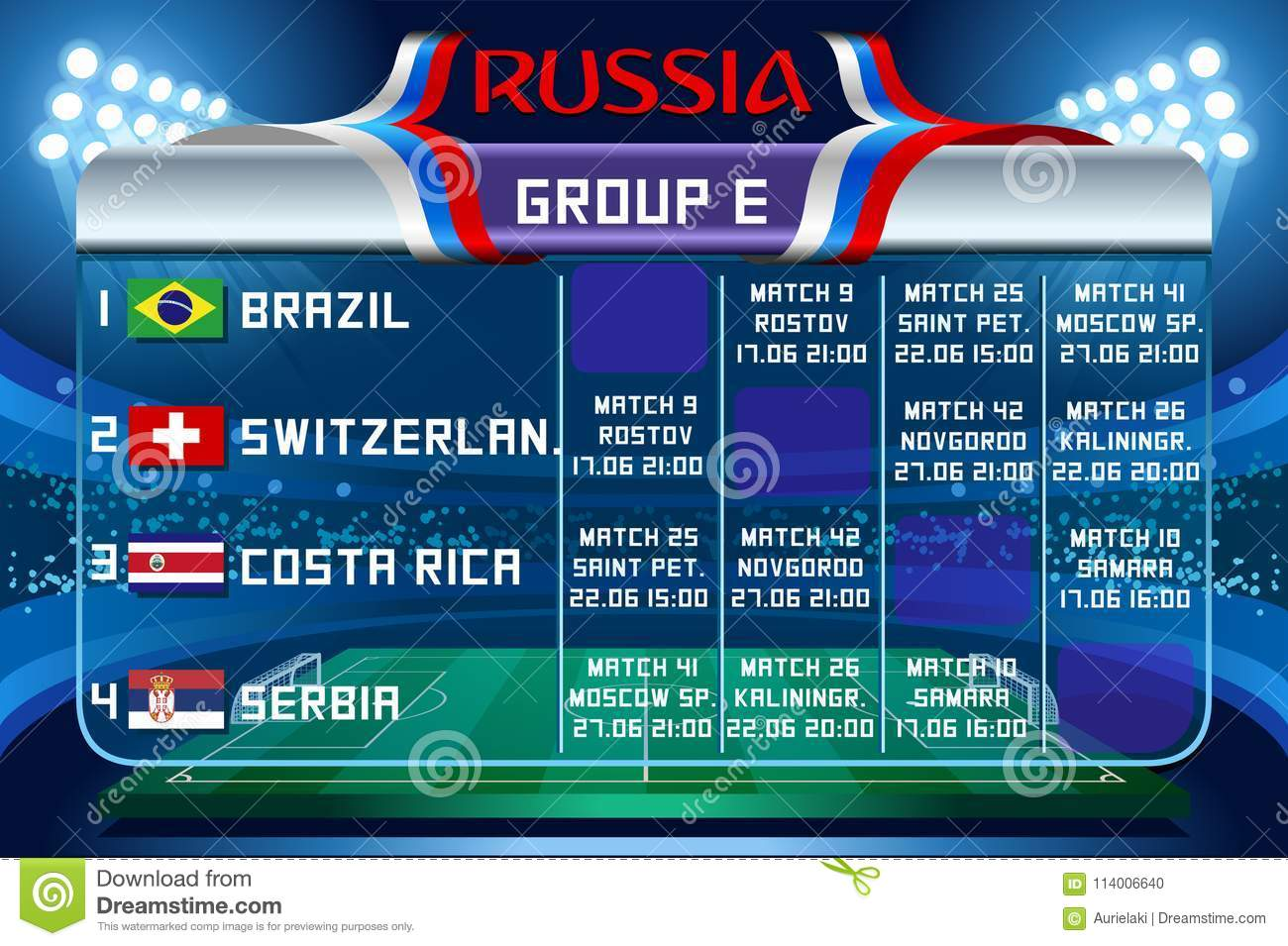 Russia World Cup Group E Vector Wallpaper Editorial Image