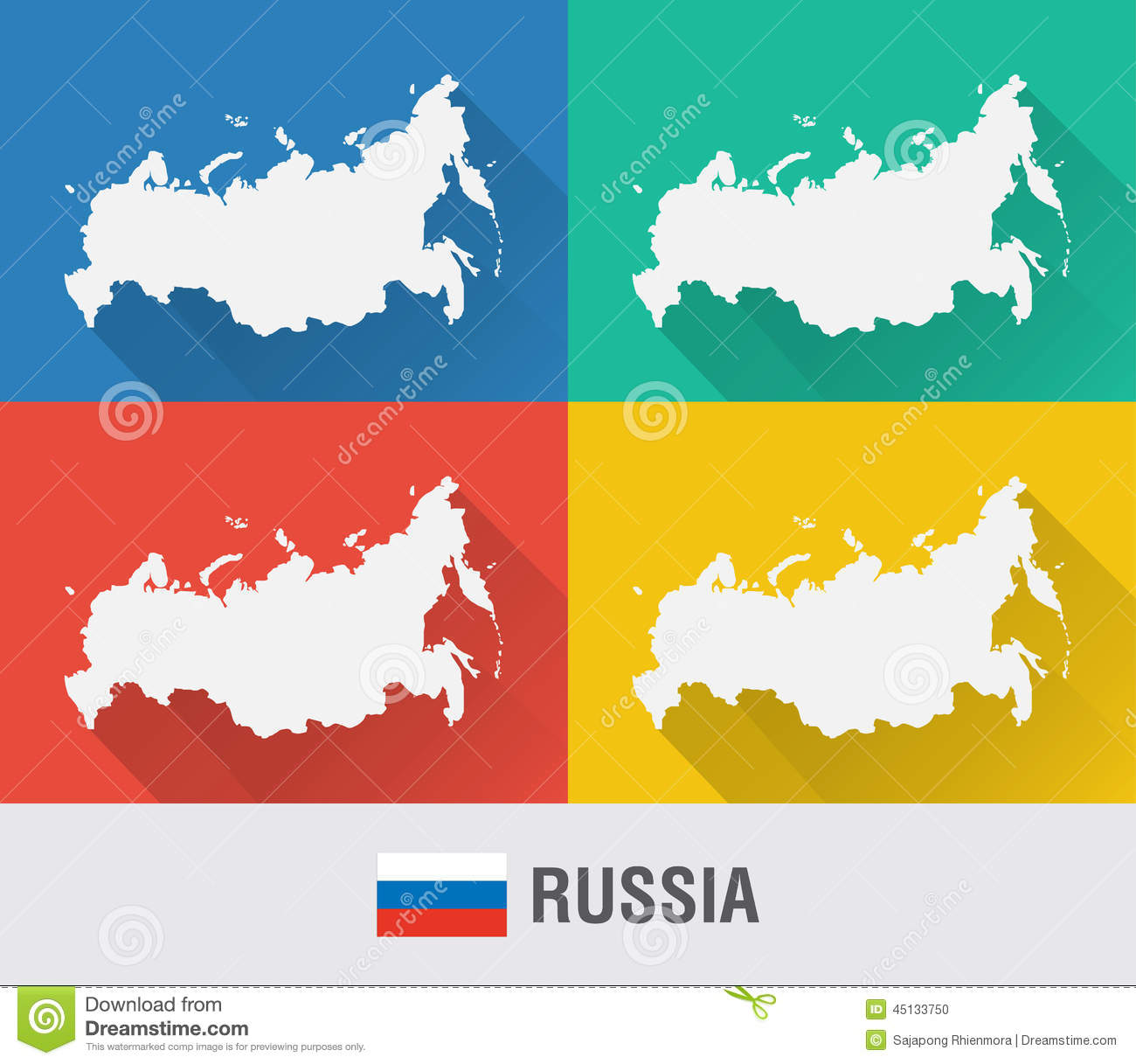 Russia World Map In Flat Style With Colors Stock Vector Image - World map russia
