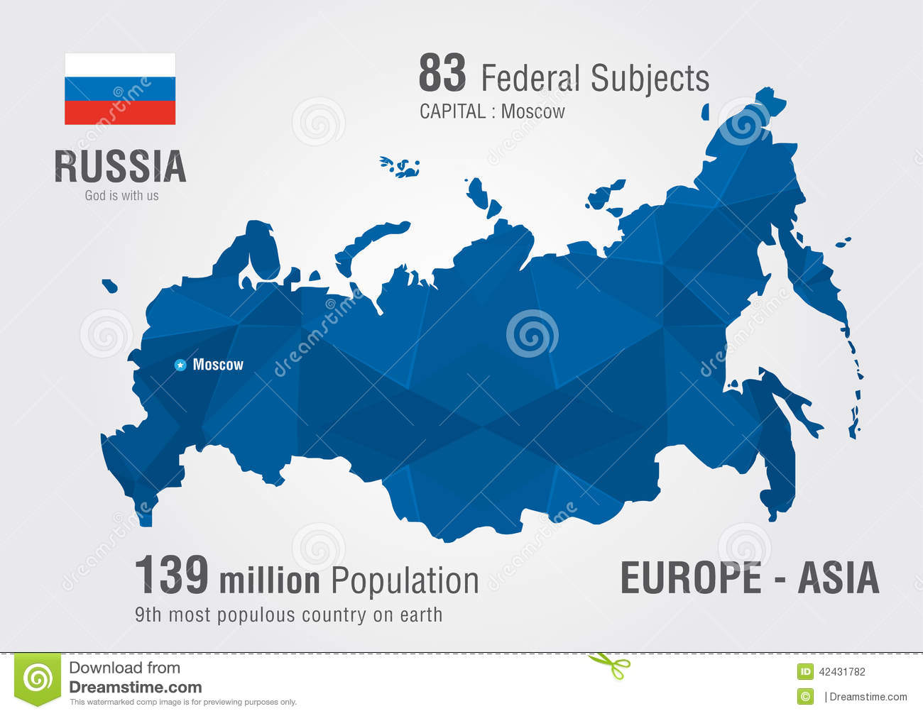 Russia World Map With A Pixel Diamond Pattern Stock Vector - Russia on a world map