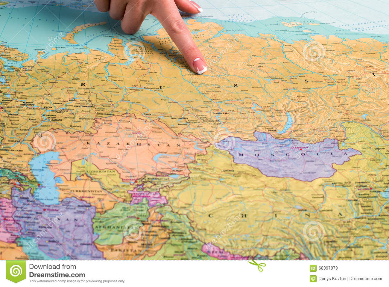 Russia On The World Map Stock Image Image Of Country 68397879