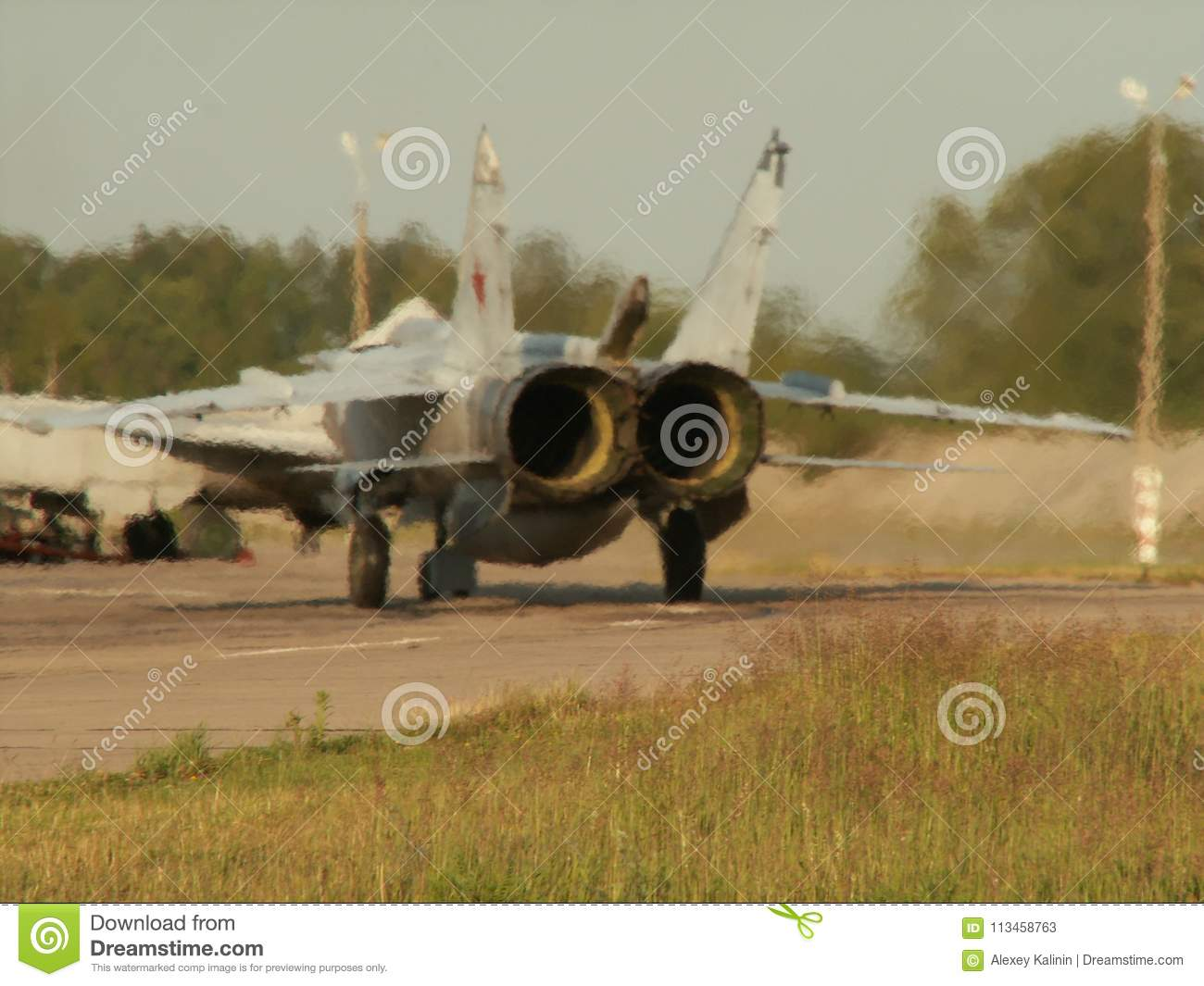 Russian Aircraft Sukhoi Su-24 Running On The Takeoff Strip