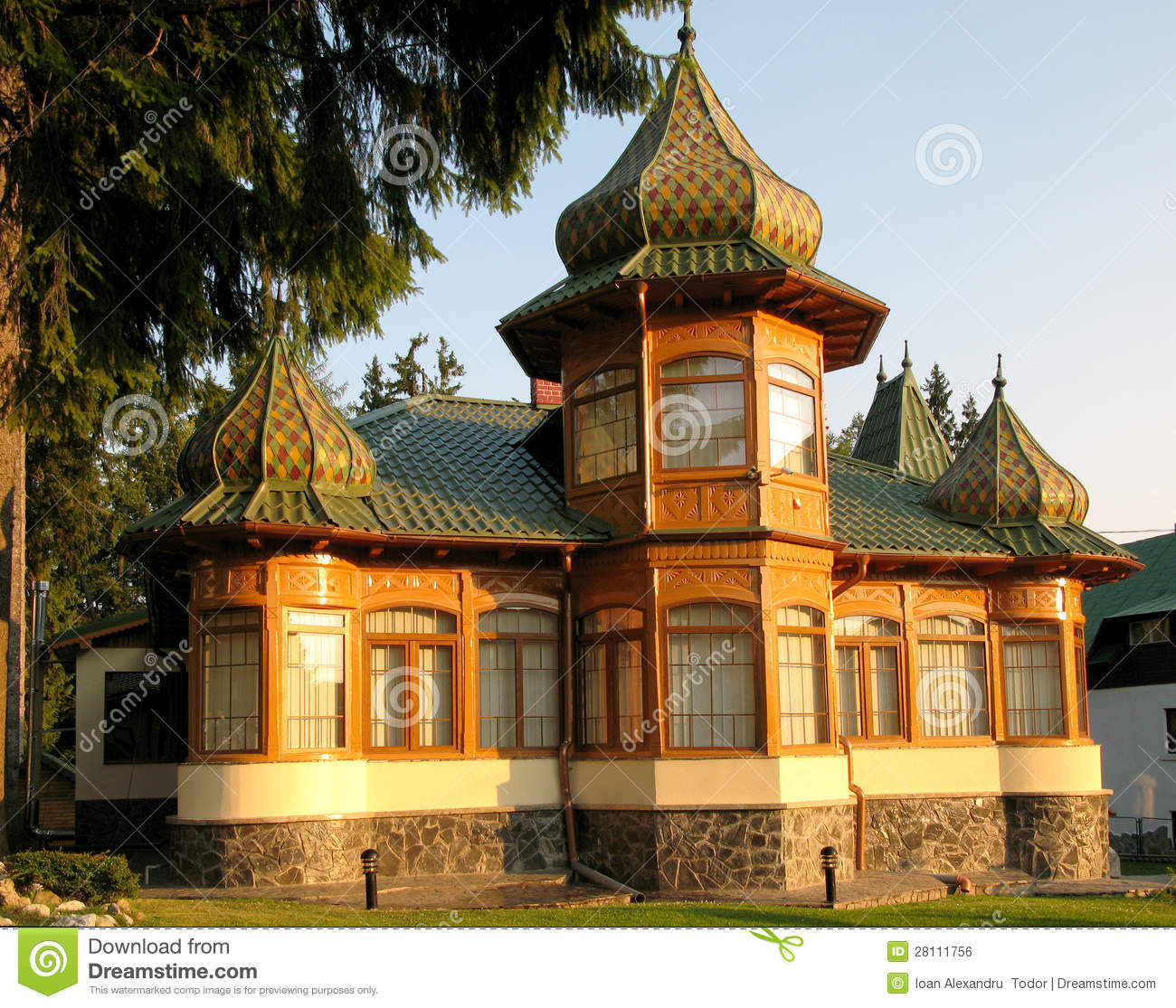 Russian architecture house, roof and wooden walls