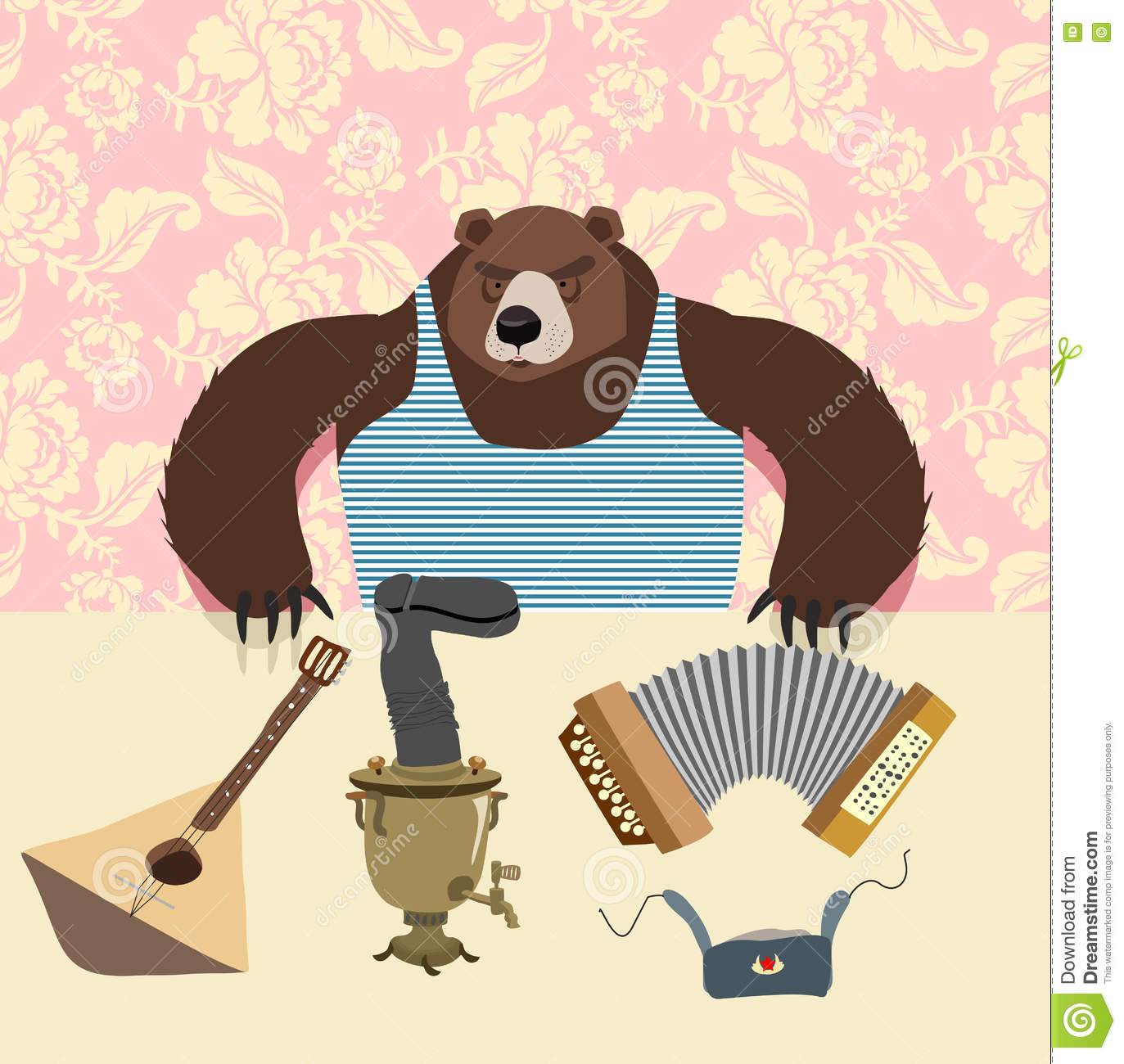 Russian Bear With Balalaika. Samovar. Cartoon Animal Stock Vector ...
