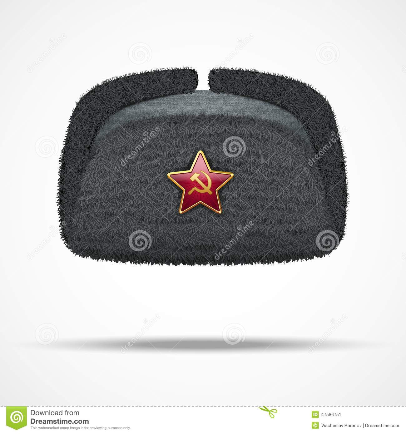 688546a294c Russian black fur winter hat ushanka with red star. Vector illustration  isolated on white background.