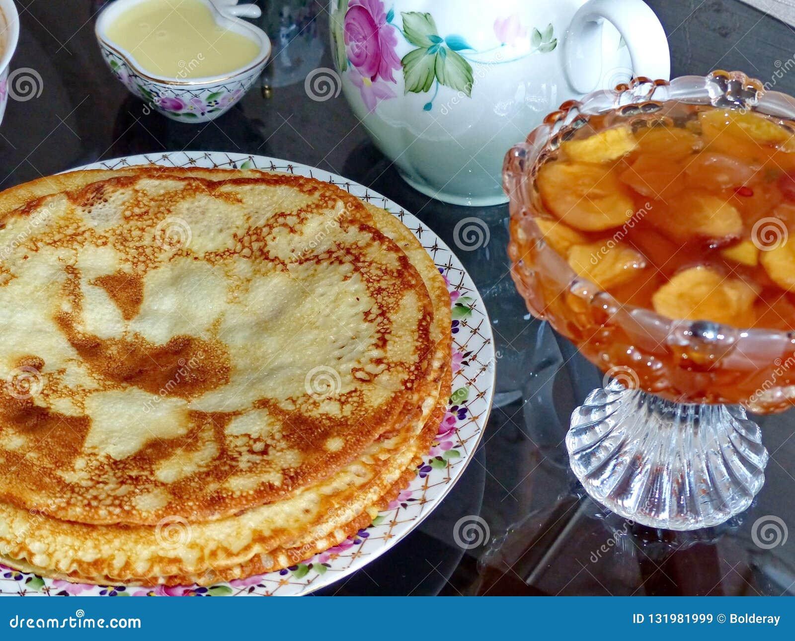 Russian Blini Pancakes And Apple Jam Condensed Milk Honey