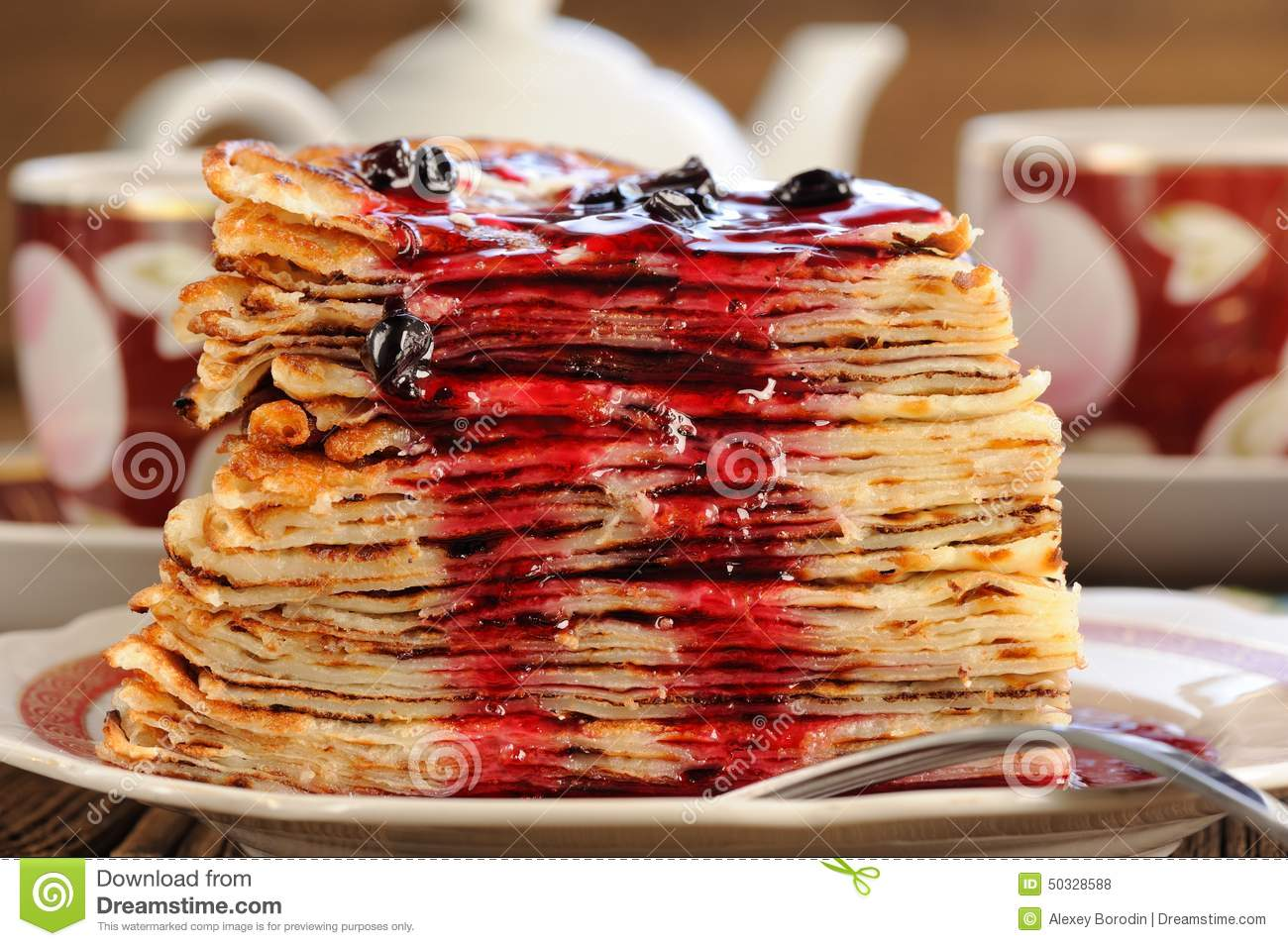 Download Russian Bliny With Currant Jam, Tea Cups, Pot On Wooden Backgrou Stock Photo - Image of long, cake: 50328588