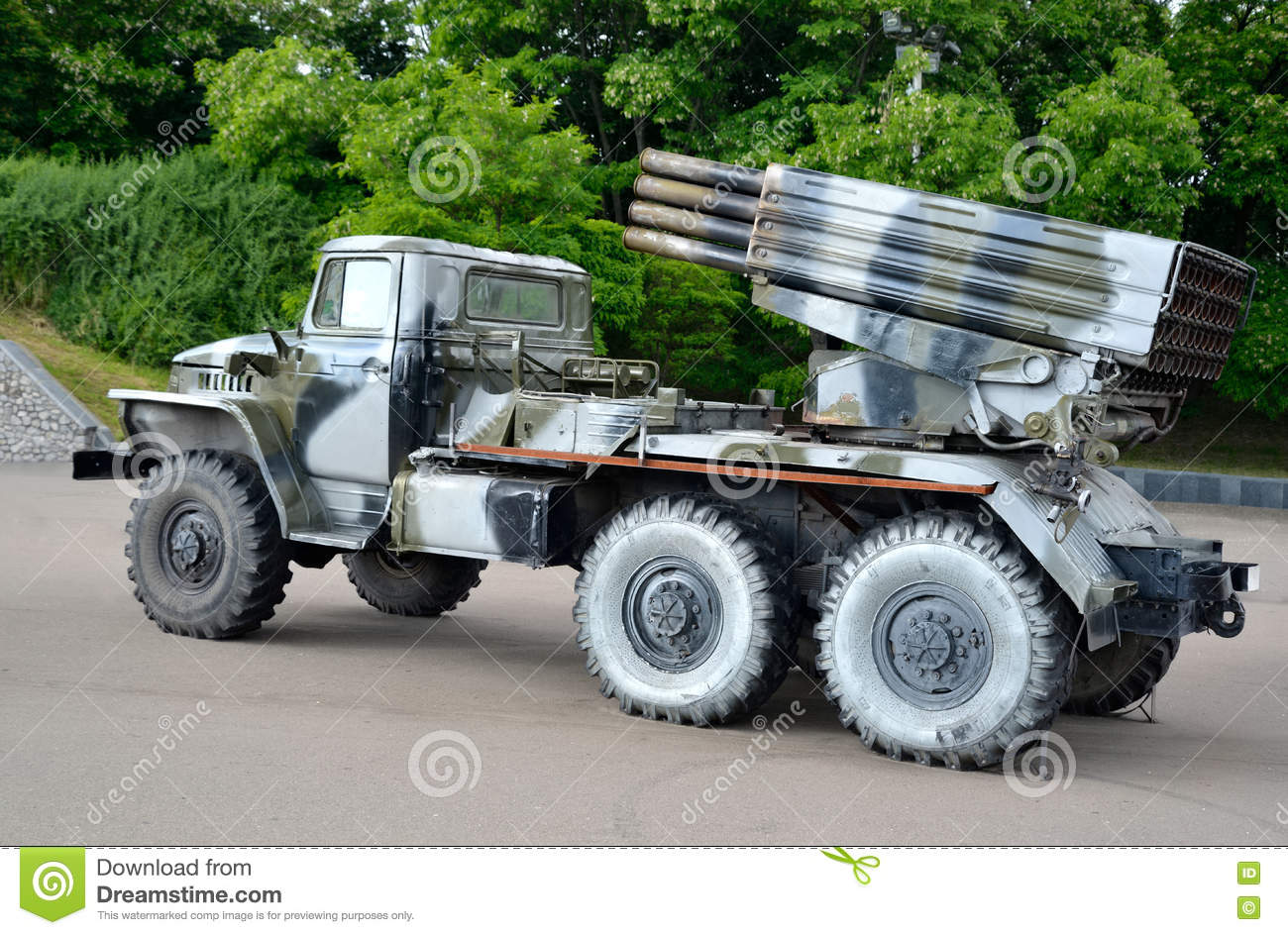 russian combat rocket launch vehicle bm 21 hail stock image image 73381521. Black Bedroom Furniture Sets. Home Design Ideas