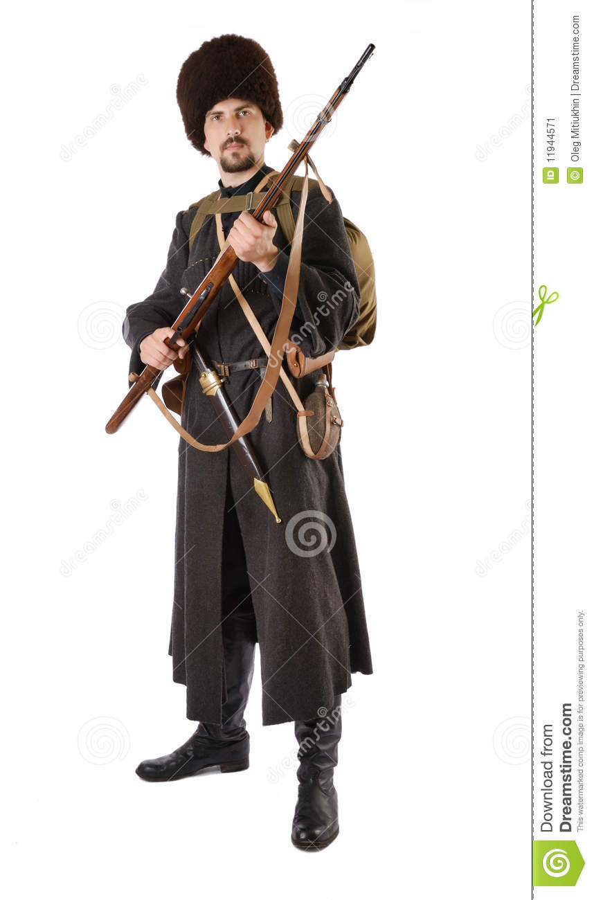 young man is wearing vintage uniform of russian foot cossack in time