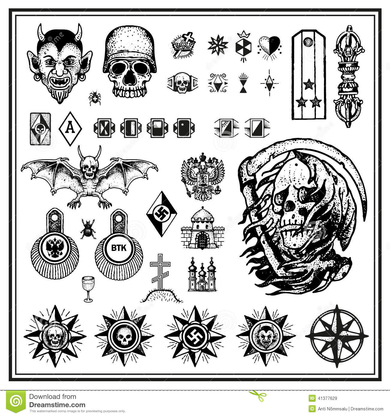 Tattoo scorpion stock photos and images - Russian Criminal Finger Tattoos Stock Vector Image 41377629