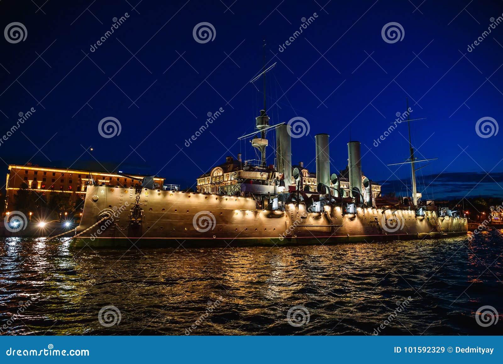 Russian cruiser Aurora or Avrora cruiser in Saint-Petersburg, Russia. Museum ship in St. Petersburg, view from river