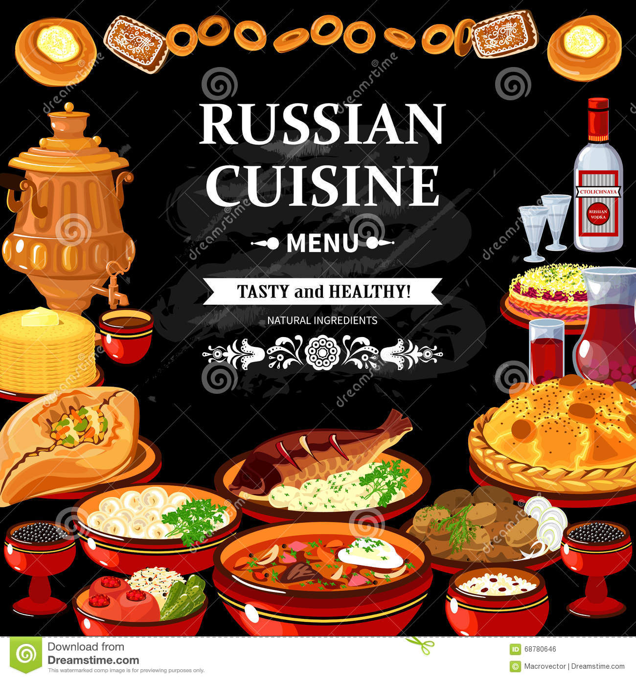 Russian cuisine menu black board poster stock vector for Authentic russian cuisine