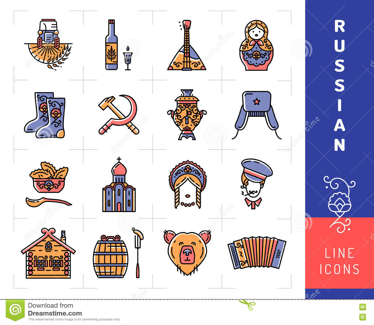 russian culture color thin line icons russia traditional vector russian culture color thin line icons russia traditional vector symbols