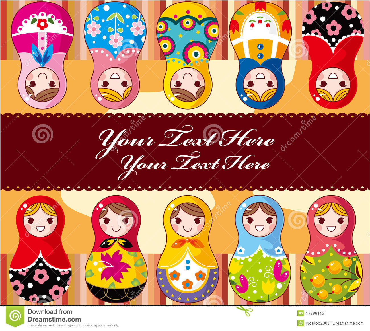 Russian Doll Card Stock Vector Illustration Of Cartoon