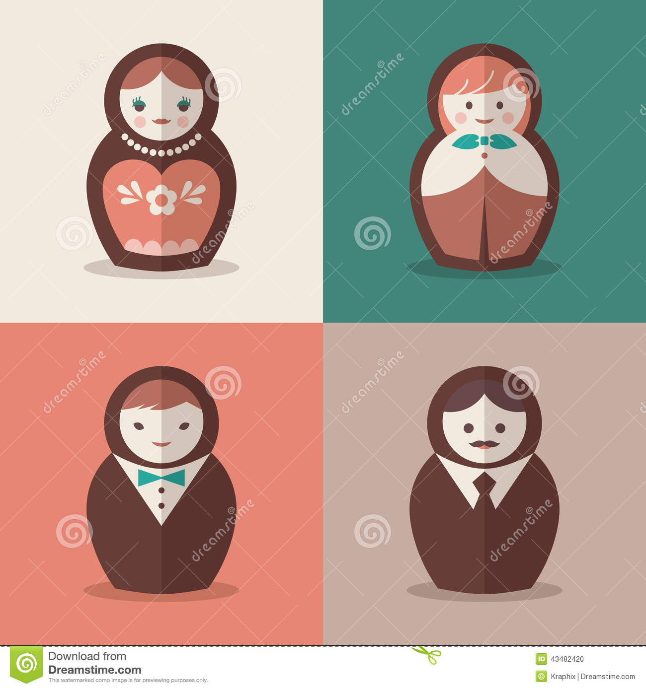 Russian doll groom and bride wedding icons