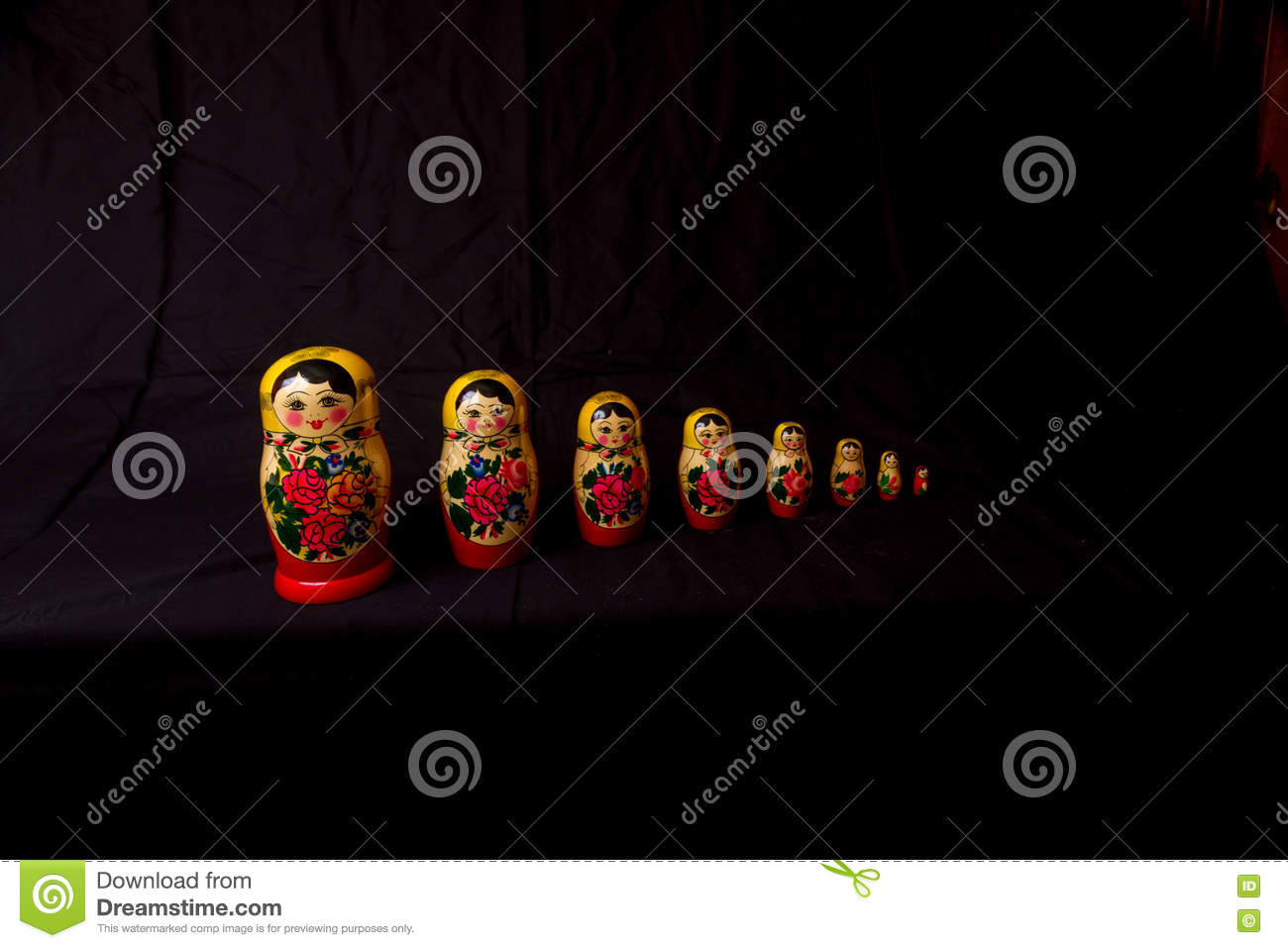 Russian Dolls matryoshka in low light