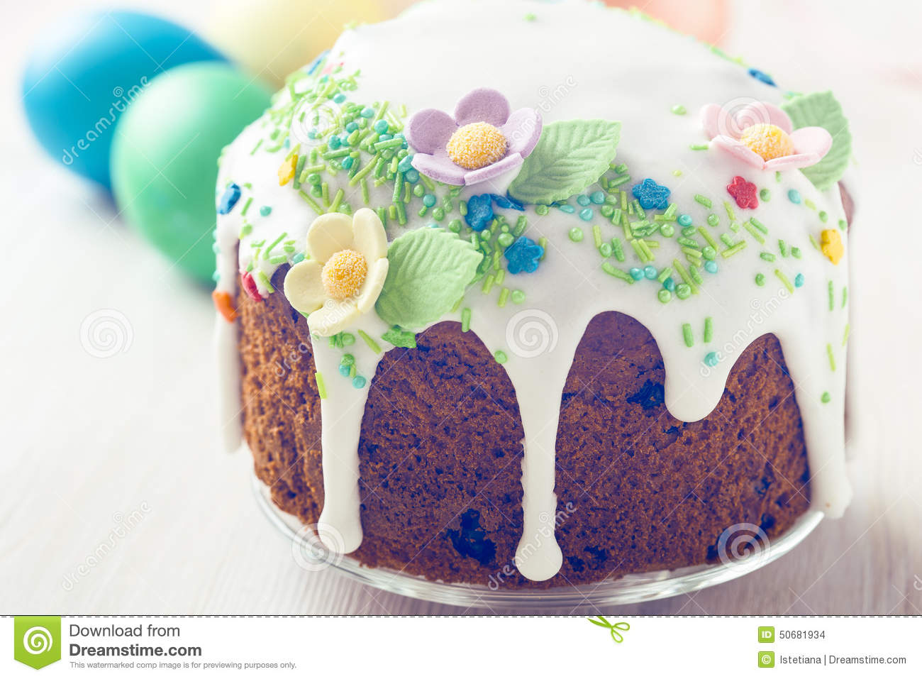 Russian easter cake with glace icing and decoration stock for Glace decoration