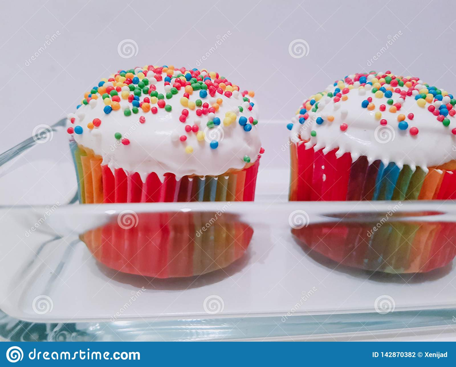 Russian Easter Delicious Bakery  Mini Cupcakes Stock Photo