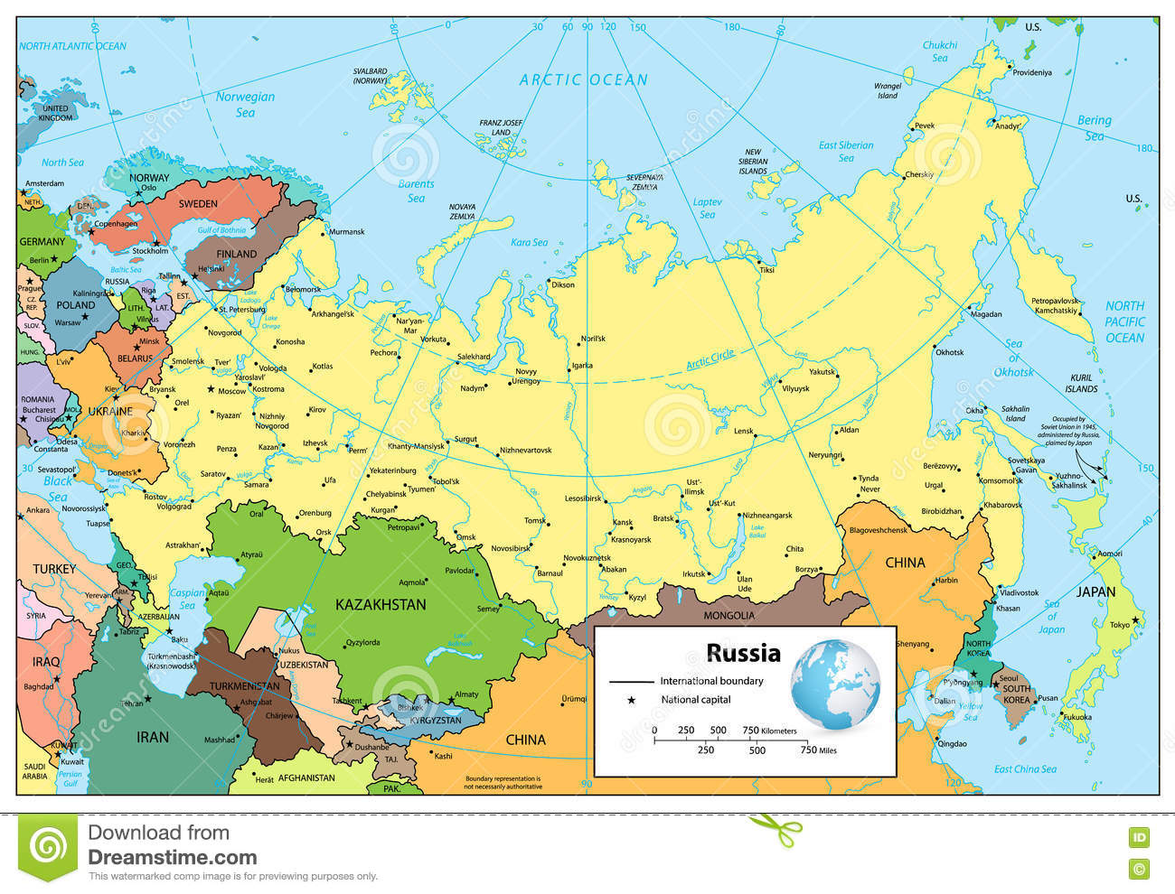 Image of: Russian Federation Detailed Political Map Stock Vector Illustration Of Colored Rivers 72450031