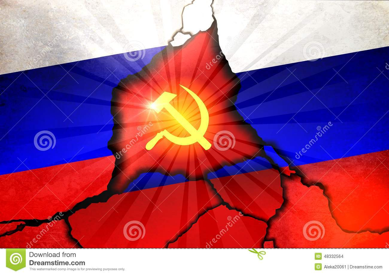 russian flag and emblem of the ussr stock photo image 48332564