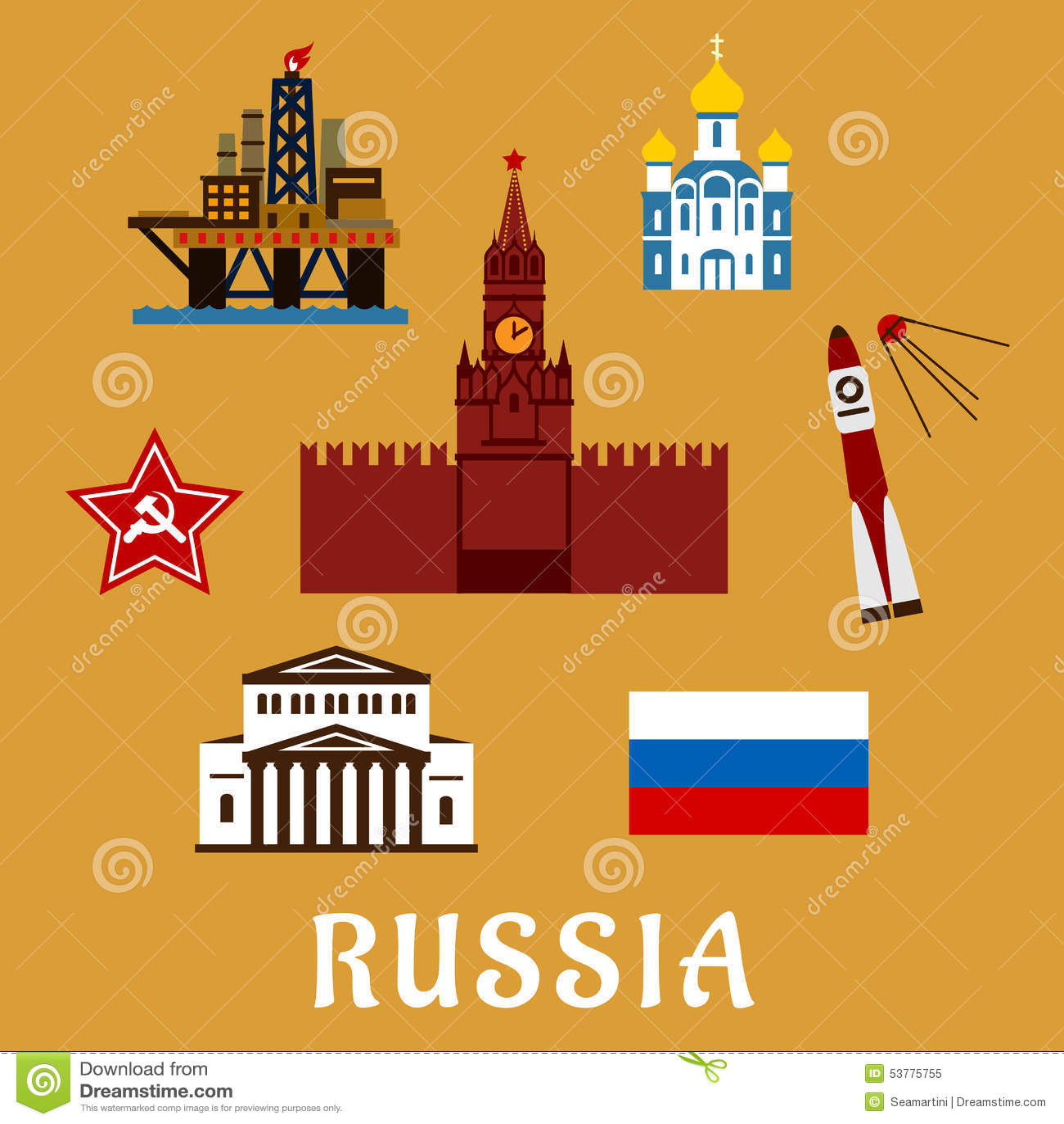 Russian flat travel icons and symbols stock vector illustration russian flat travel icons and symbols buycottarizona