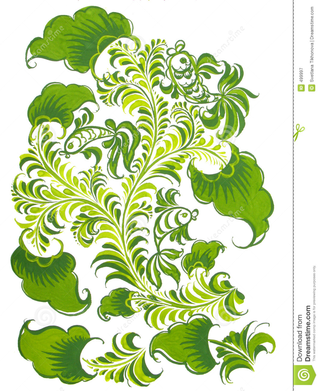 Russian Folk Design With Fish In Green Color Stock Illustration ...