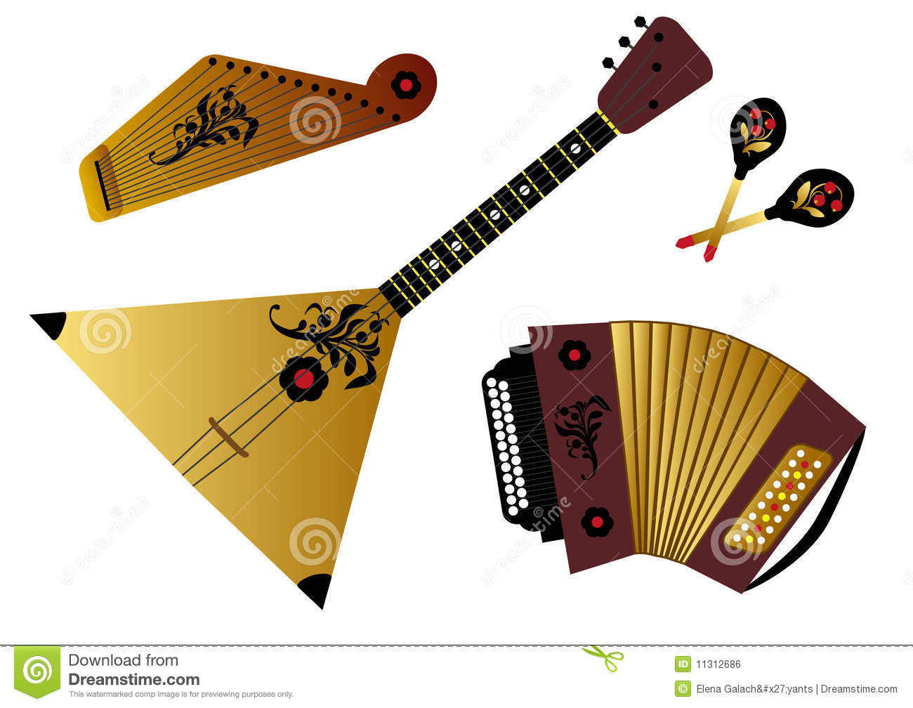 Russian Folk Music Instruments Royalty Free Stock Image - Image ...