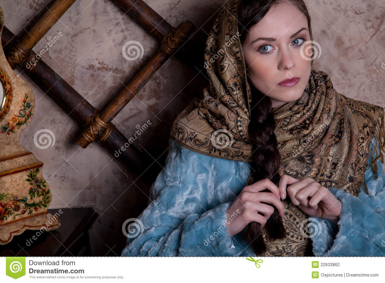 Stock photography: russian girl in a peasant hut