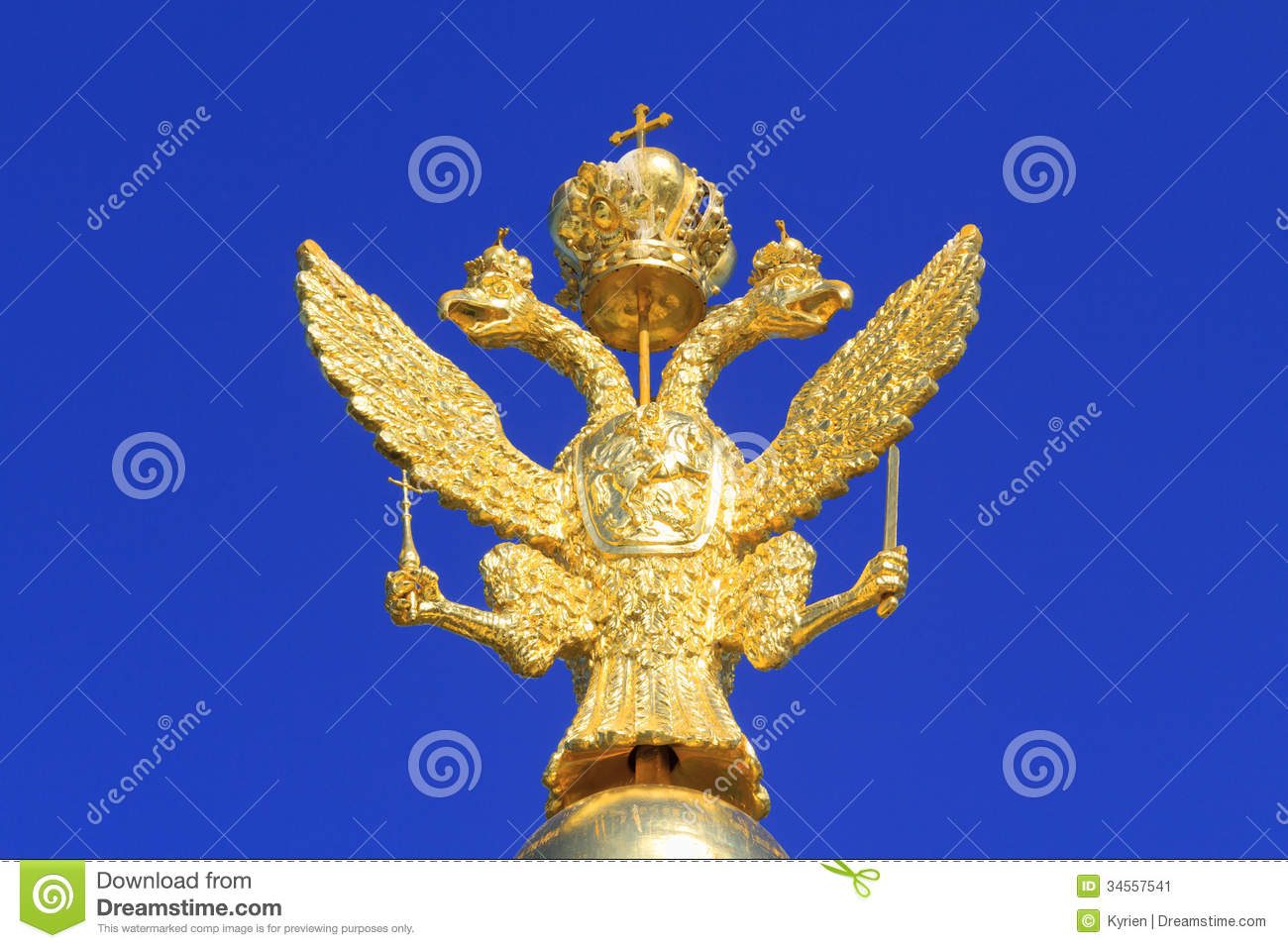 Russian Golden Double Headed Eagle Stock Image Image Of Palace