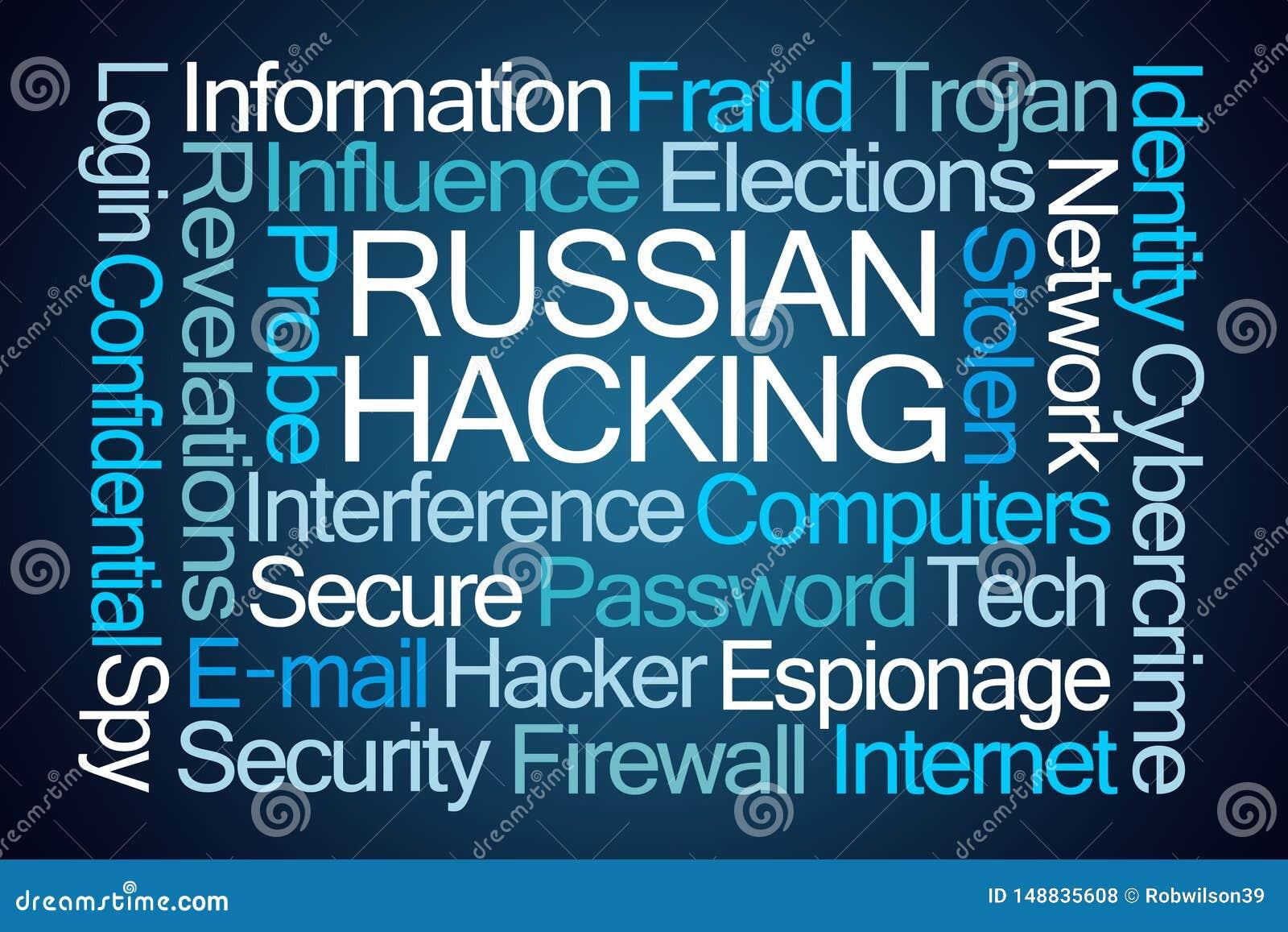 Russian Hacking Word Cloud stock illustration  Illustration