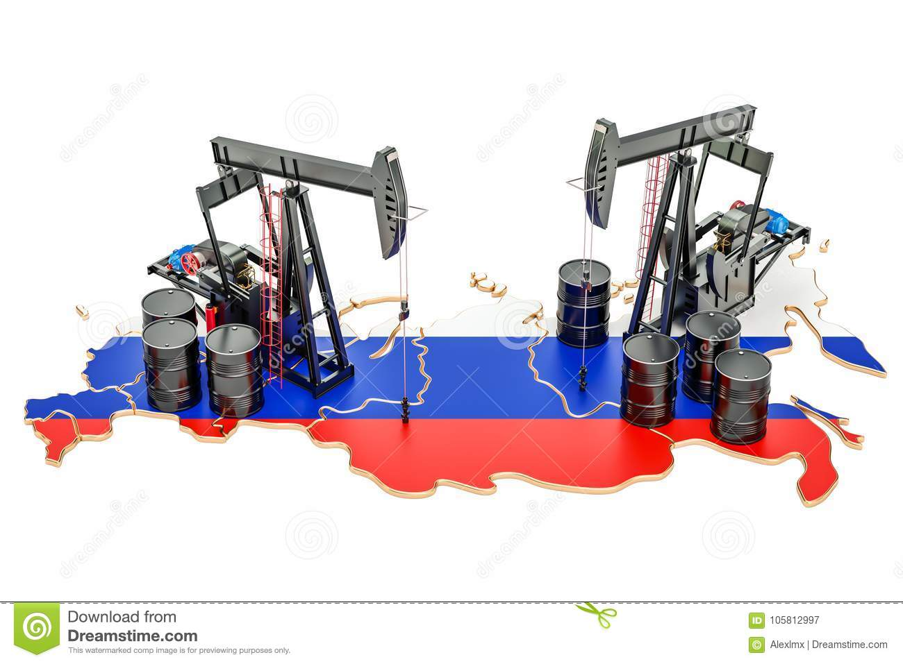Russian map with oil barrels and pumpjacks. Oil production