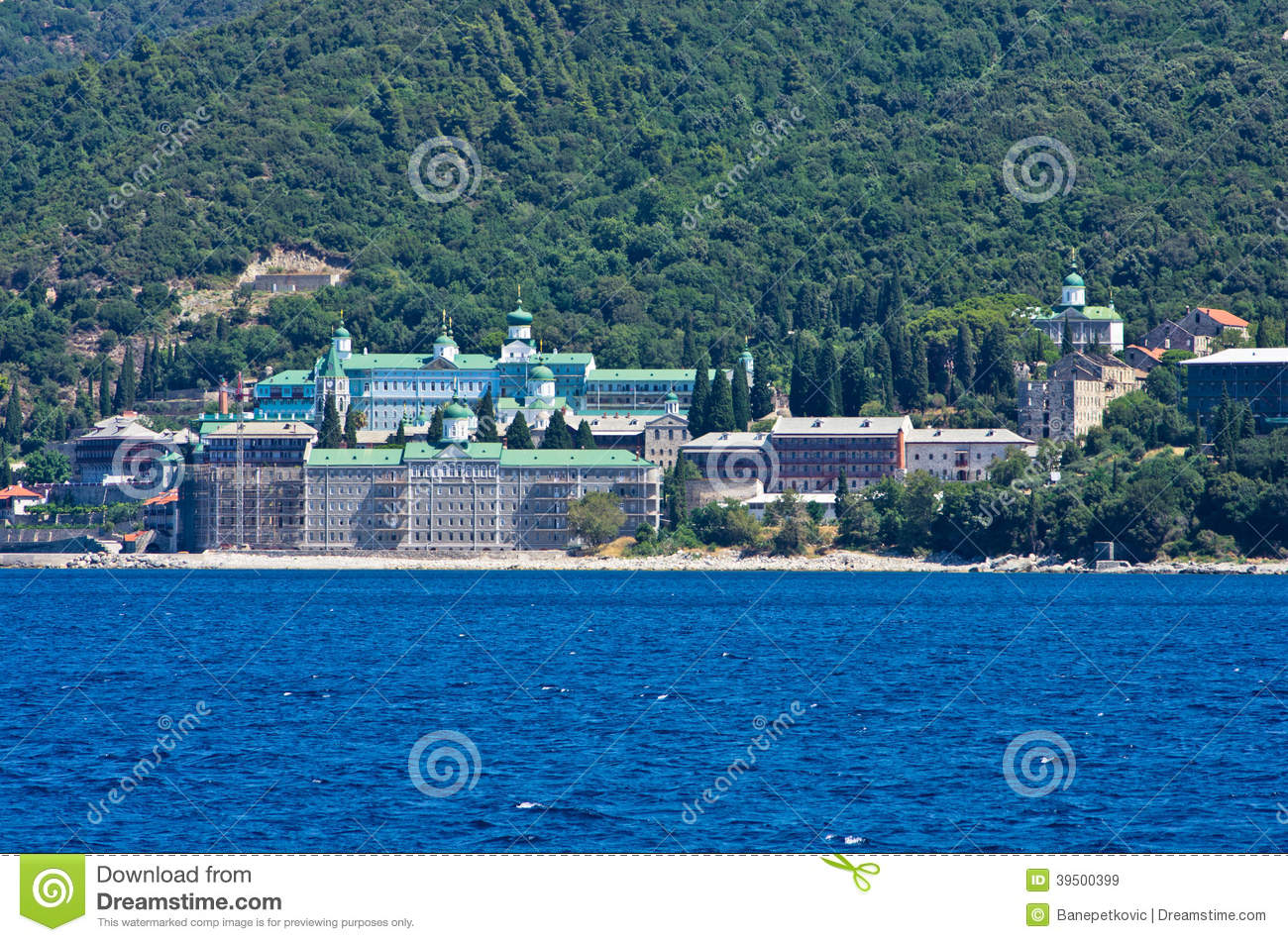 Russian monastery on a coast of aegean sea below the holy mountain Athos