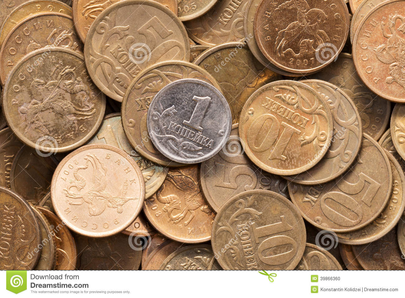 Coins of the Russian Federation. Photo taken on: April 16th, 2014.