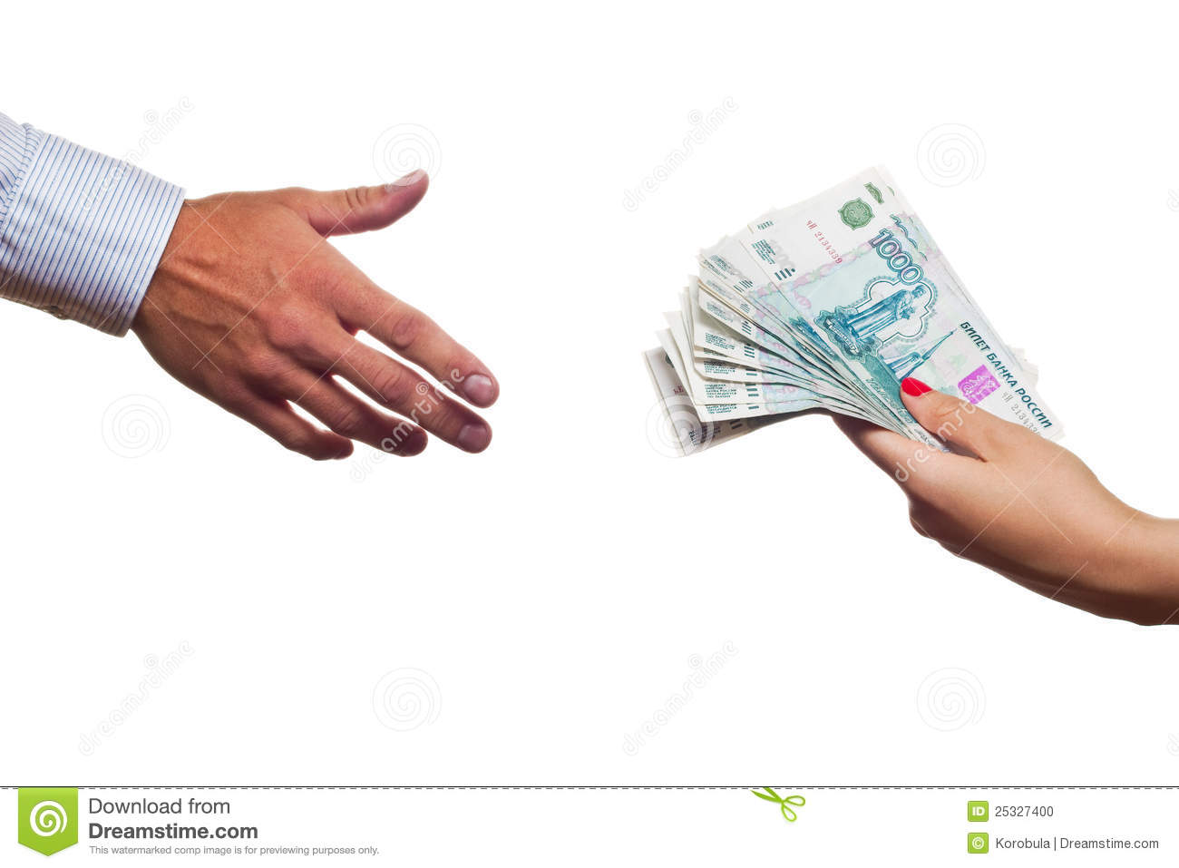 Russian Money Transfer From Hand To Hand Stock Photo