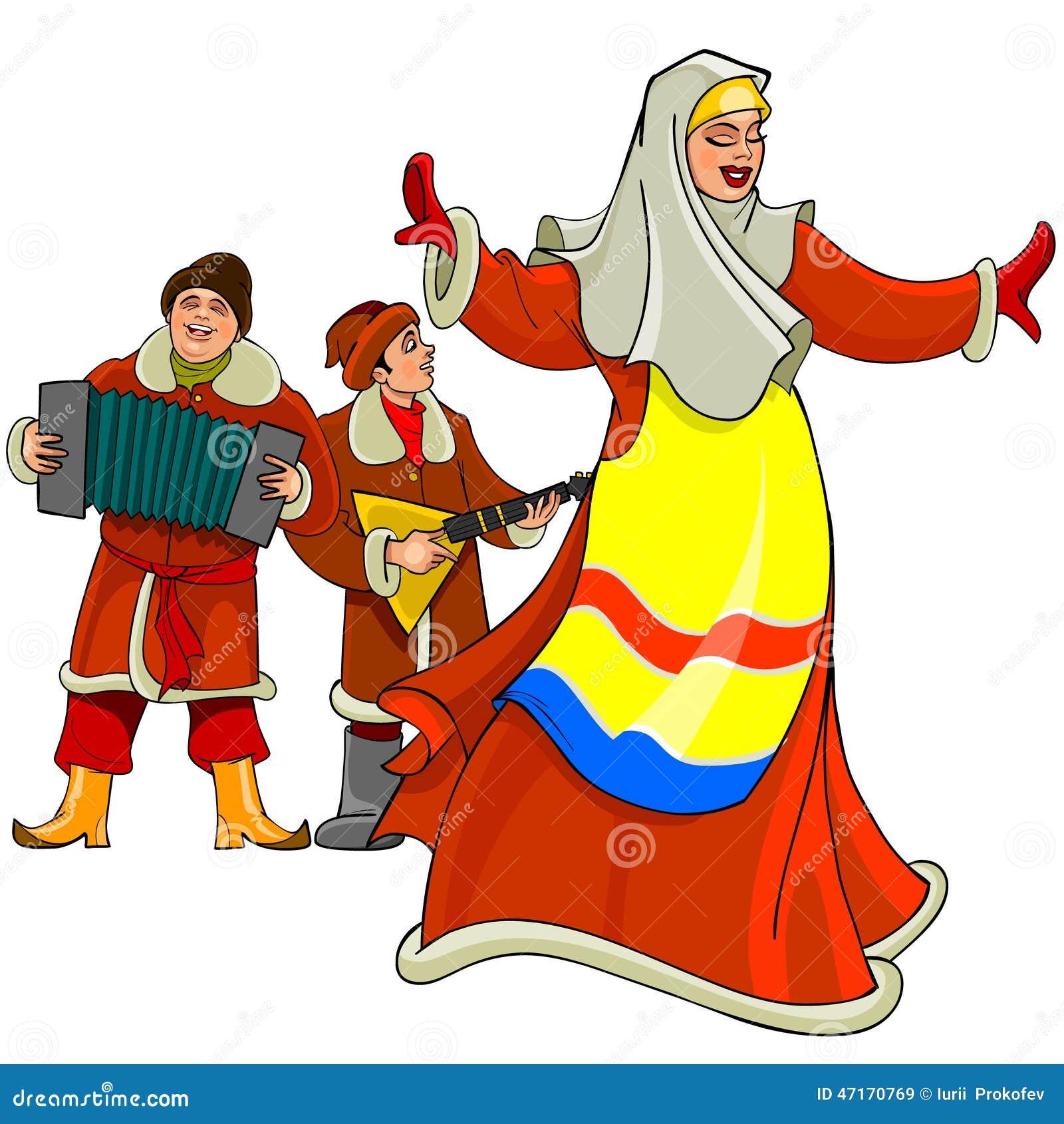 In the Russian national dress dancing woman, men play the accordion and balalaika