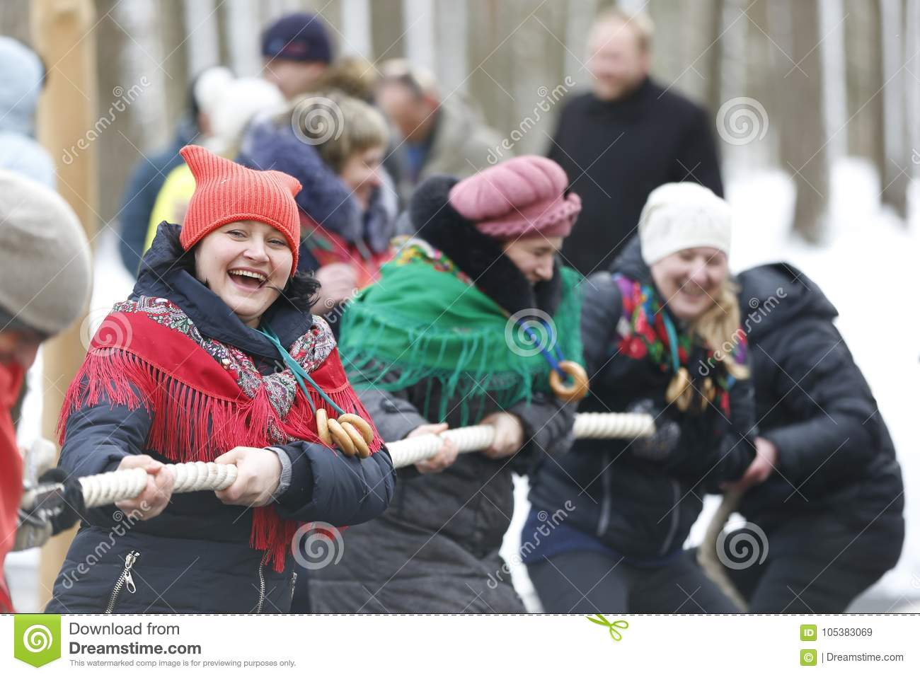 Russian national holiday Maslenitsa.Tighten the rope