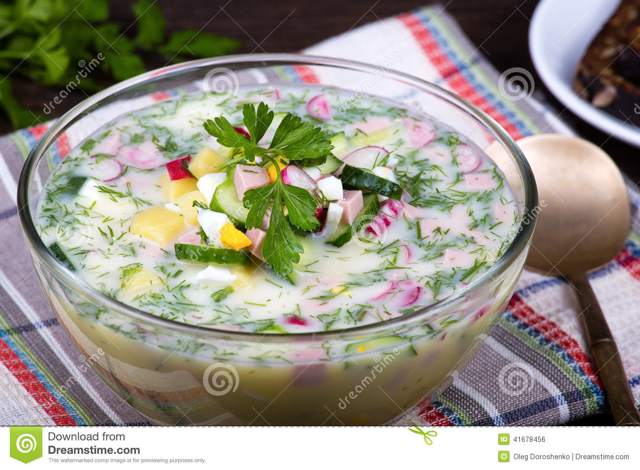 Russian Okroshka With Yogurt And Vegetables, Food Stock ...