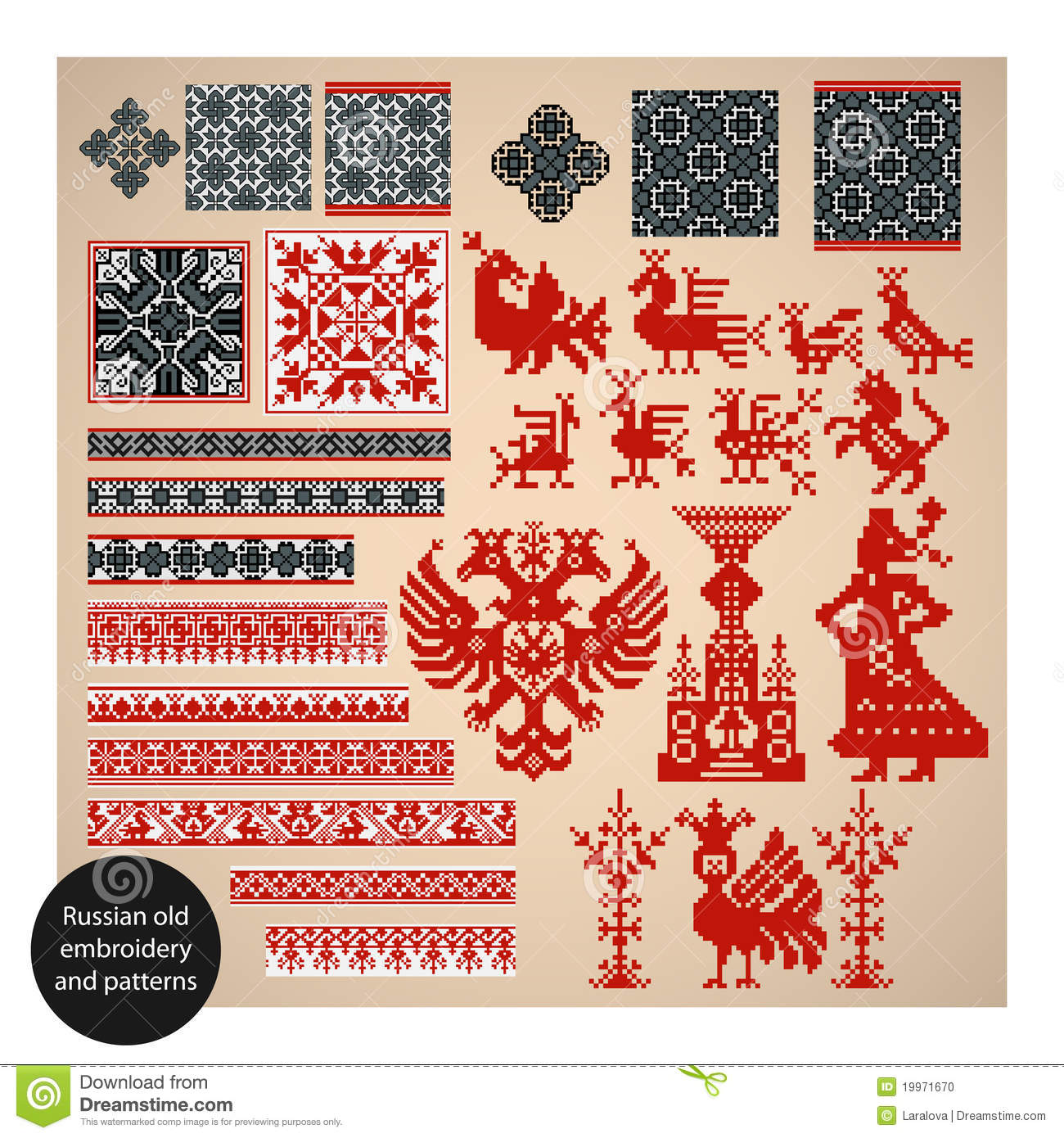 Russian Old Embroidery And Patterns Stock Photo  Image