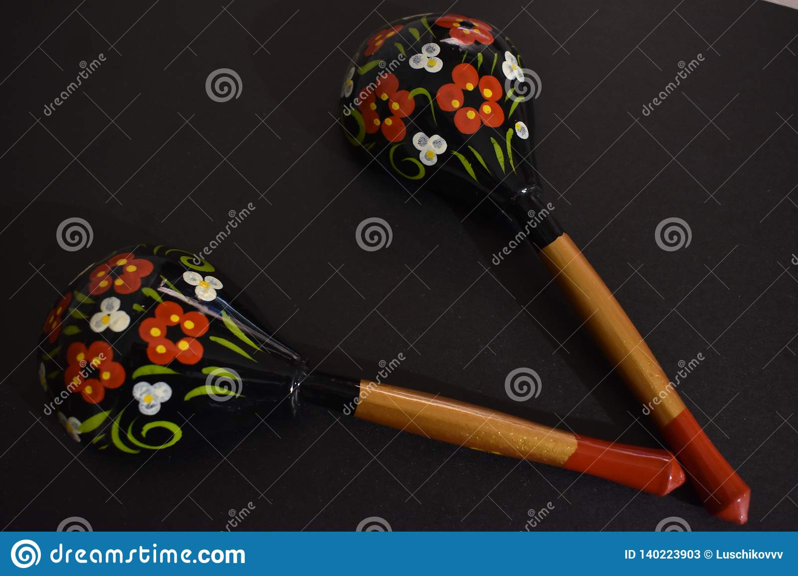 Russian painted wooden spoons