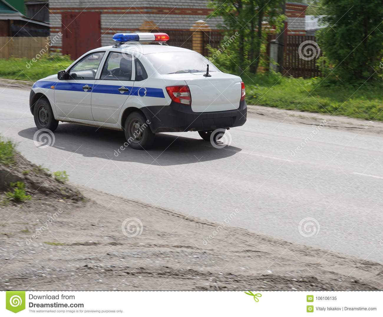 russian police car with flashing lights stock image - image of motor