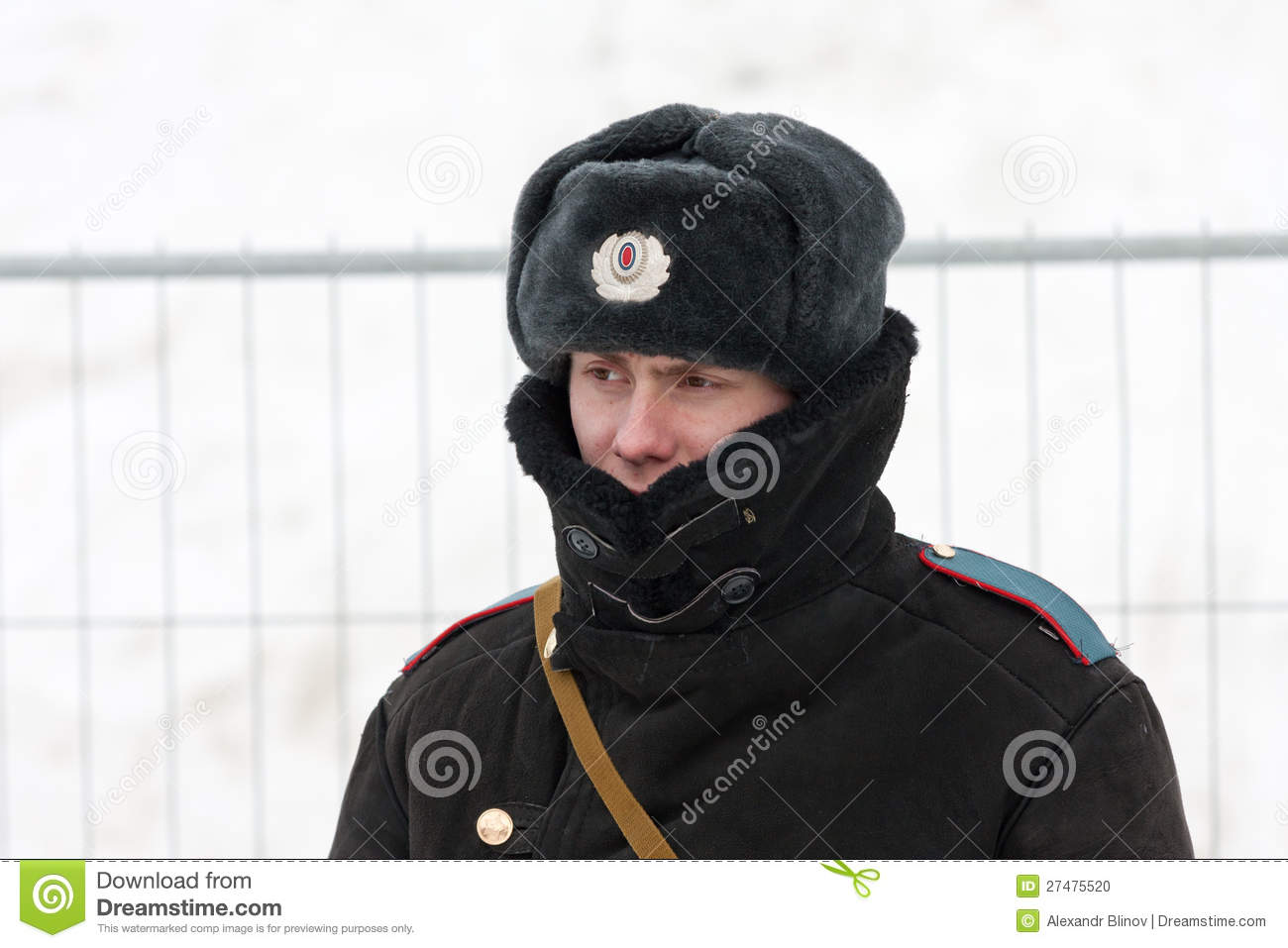 aa0ef0cb2590 Russian Policeman In Winter Wear Editorial Image - Image of winter ...